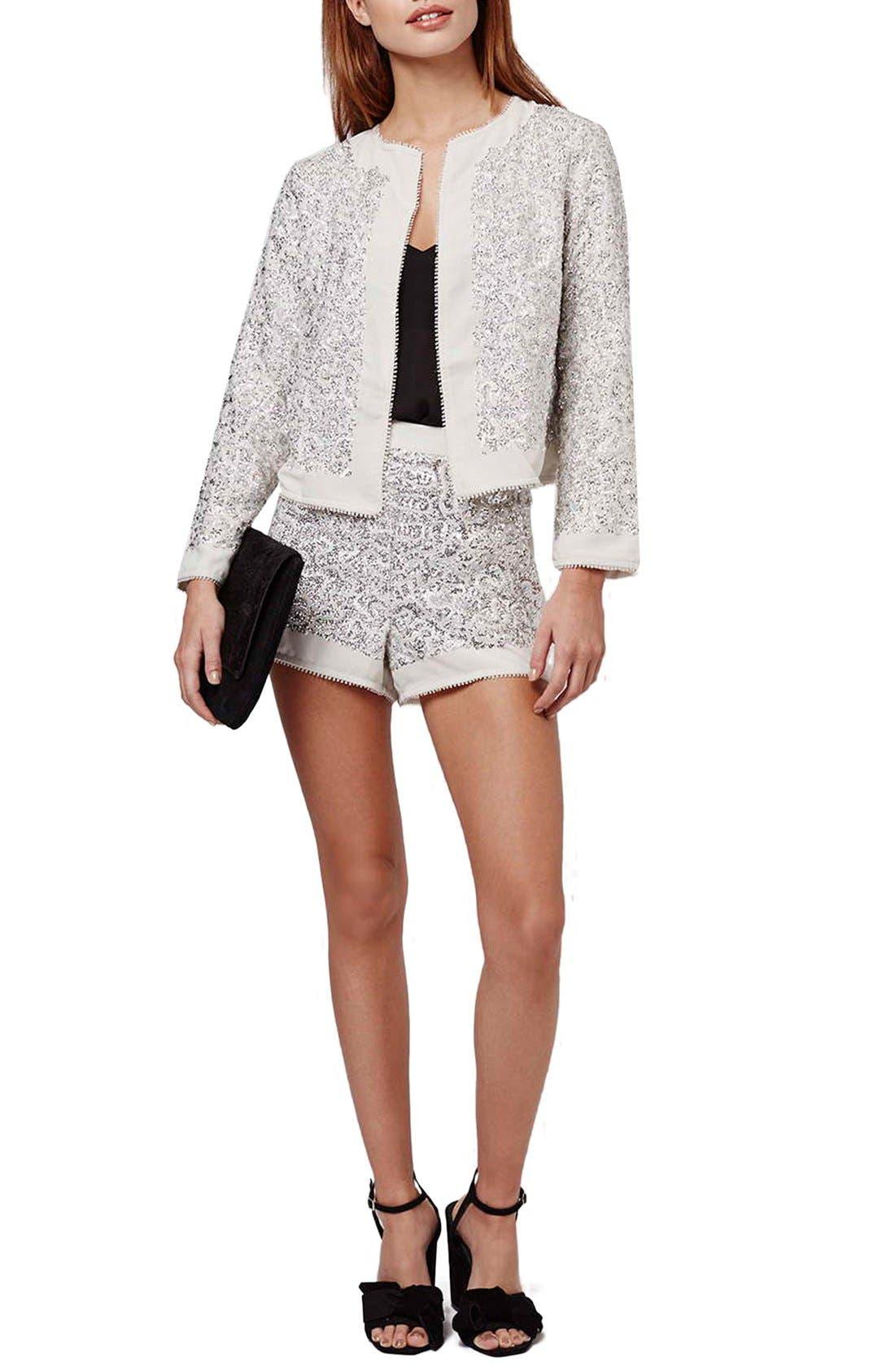 Alternate Image 2  - Topshop Sequin Embellished Jacket (Petite)