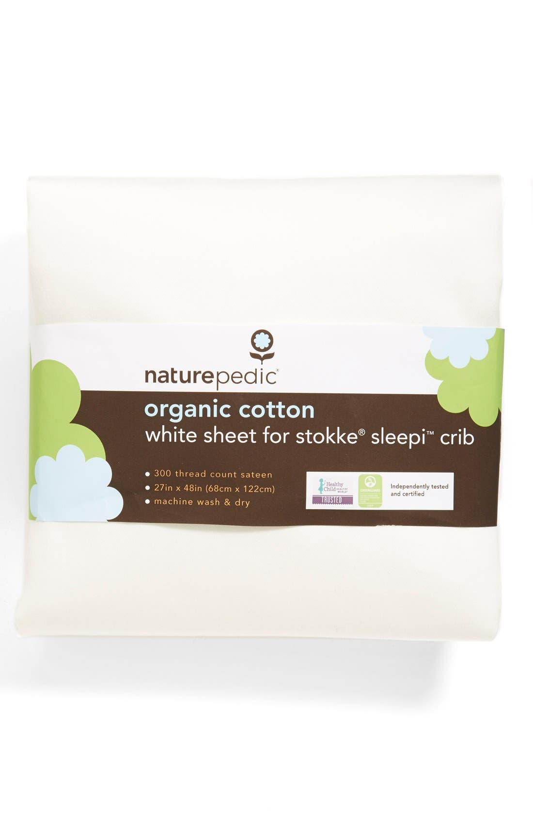300 Thread Count Organic Cotton Oval Crib Sheet for Stokke Sleepi Crib,                             Main thumbnail 1, color,                             White