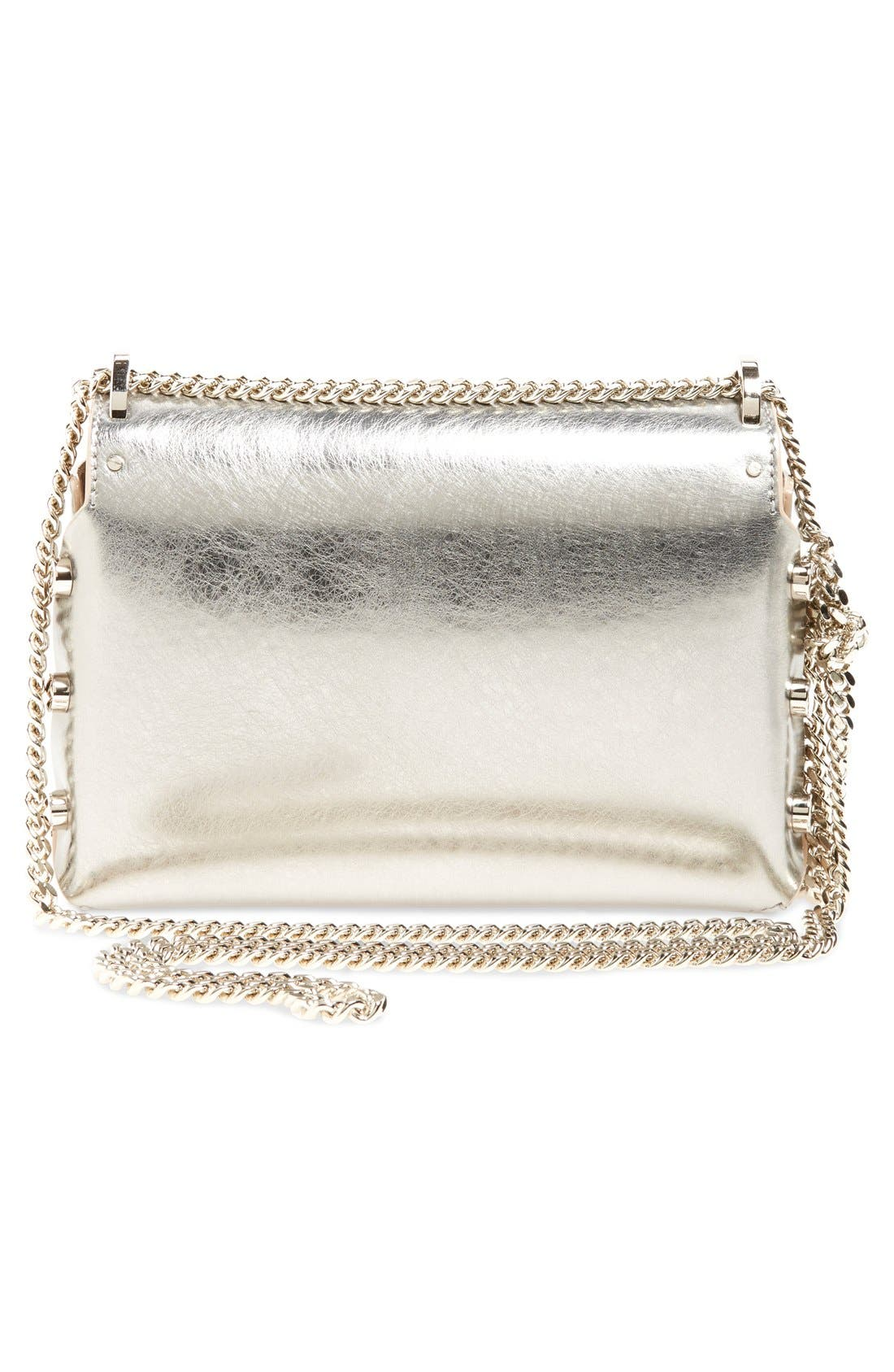'Lockett Petite' Metallic Leather Shoulder Bag,                             Alternate thumbnail 3, color,                             Vintage Silver