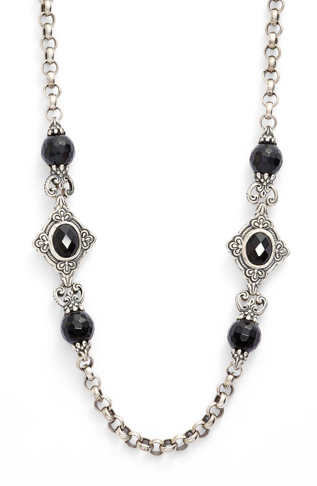 'Nykta' Long Onyx Station Necklace,                             Alternate thumbnail 2, color,                             Silver/ Black Onyx