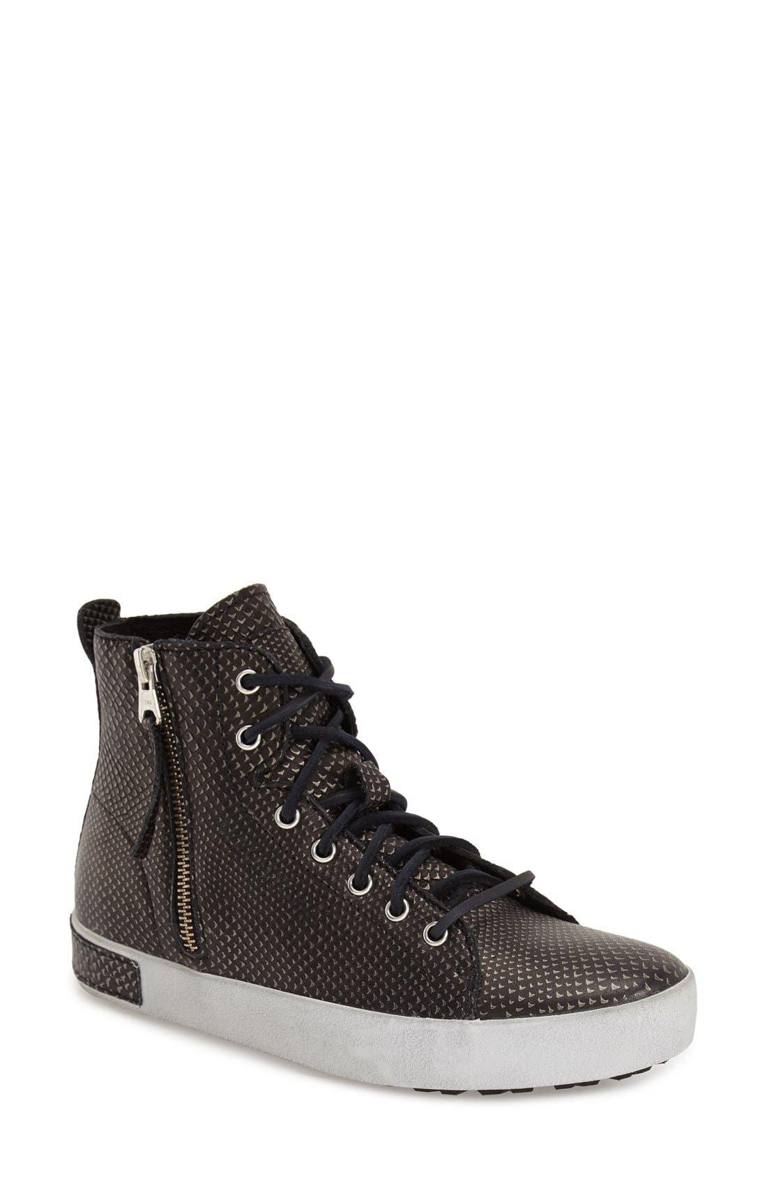 'KL57' High Top Sneaker,                         Main,                         color, Black Metallic Leather