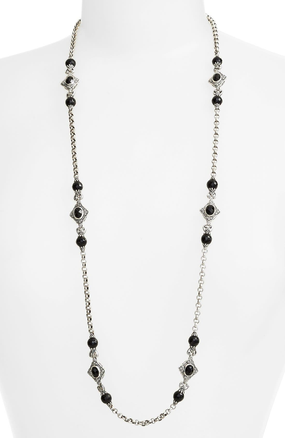 'Nykta' Long Onyx Station Necklace,                             Main thumbnail 1, color,                             Silver/ Black Onyx