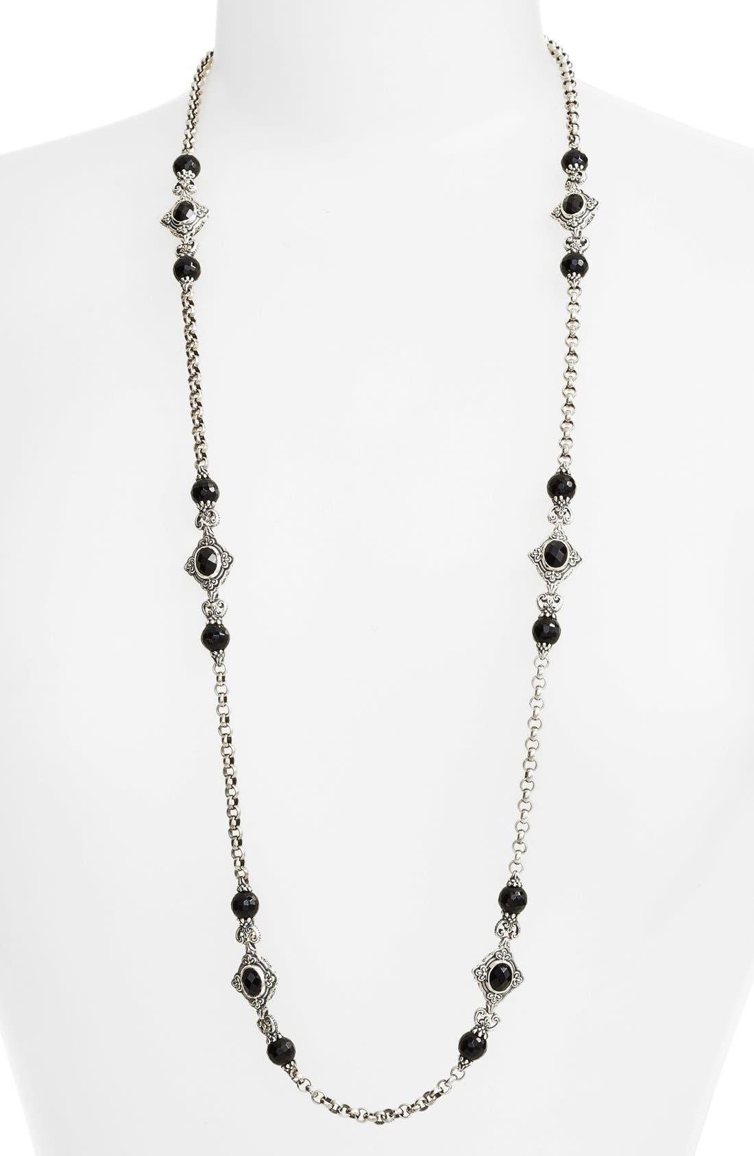 'Nykta' Long Onyx Station Necklace,                         Main,                         color, Silver/ Black Onyx