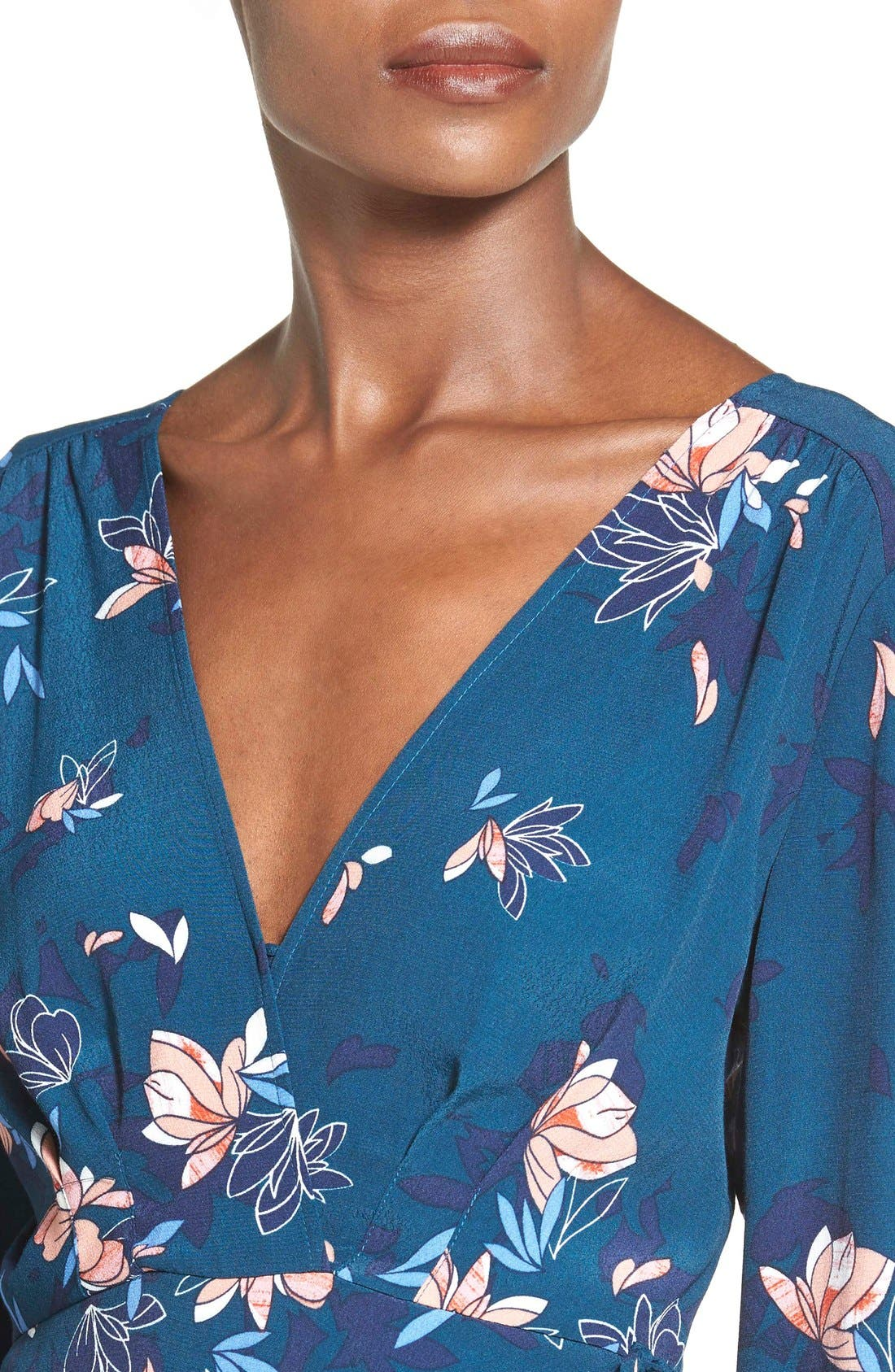 ASTR Wrap Front High/Low Dress,                             Alternate thumbnail 4, color,                             Teal Multi Floral