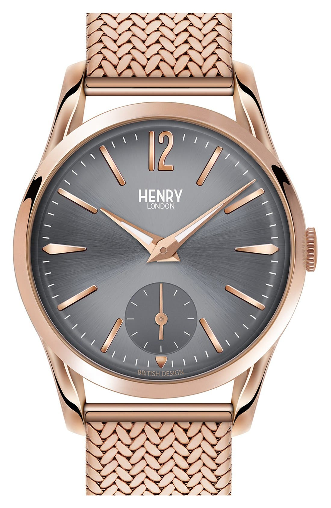 'Finchley' Round Mesh Strap Watch, 30mm,                             Main thumbnail 1, color,                             Rose Gold/ Slate Grey