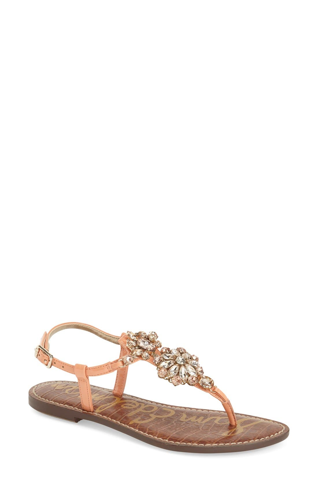 Main Image - Sam Edelman 'Grayson' Crystal Flower Flat Sandal (Women)
