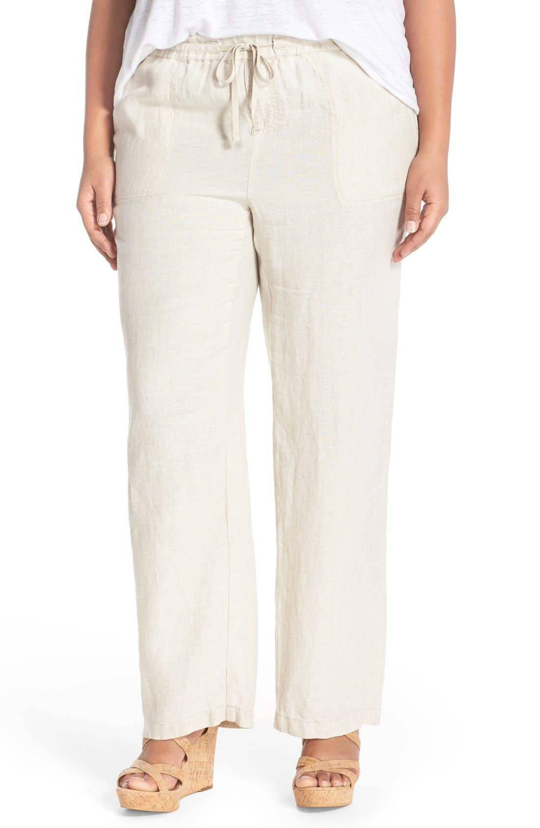 Caslon® Drawstring Linen Pants (Plus Size)