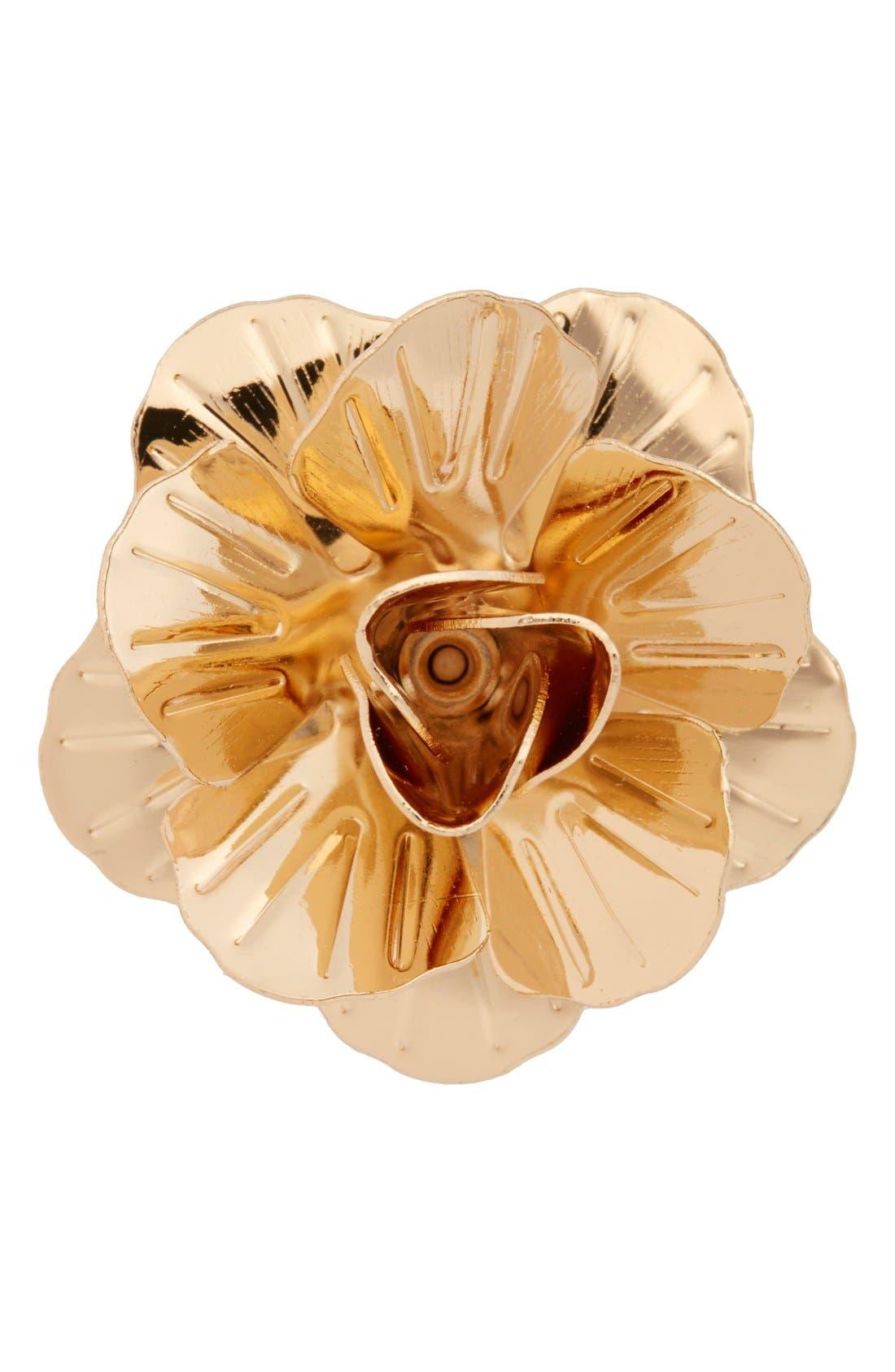 Metallic Floral Lapel Pin,                             Main thumbnail 1, color,                             Gold Metal