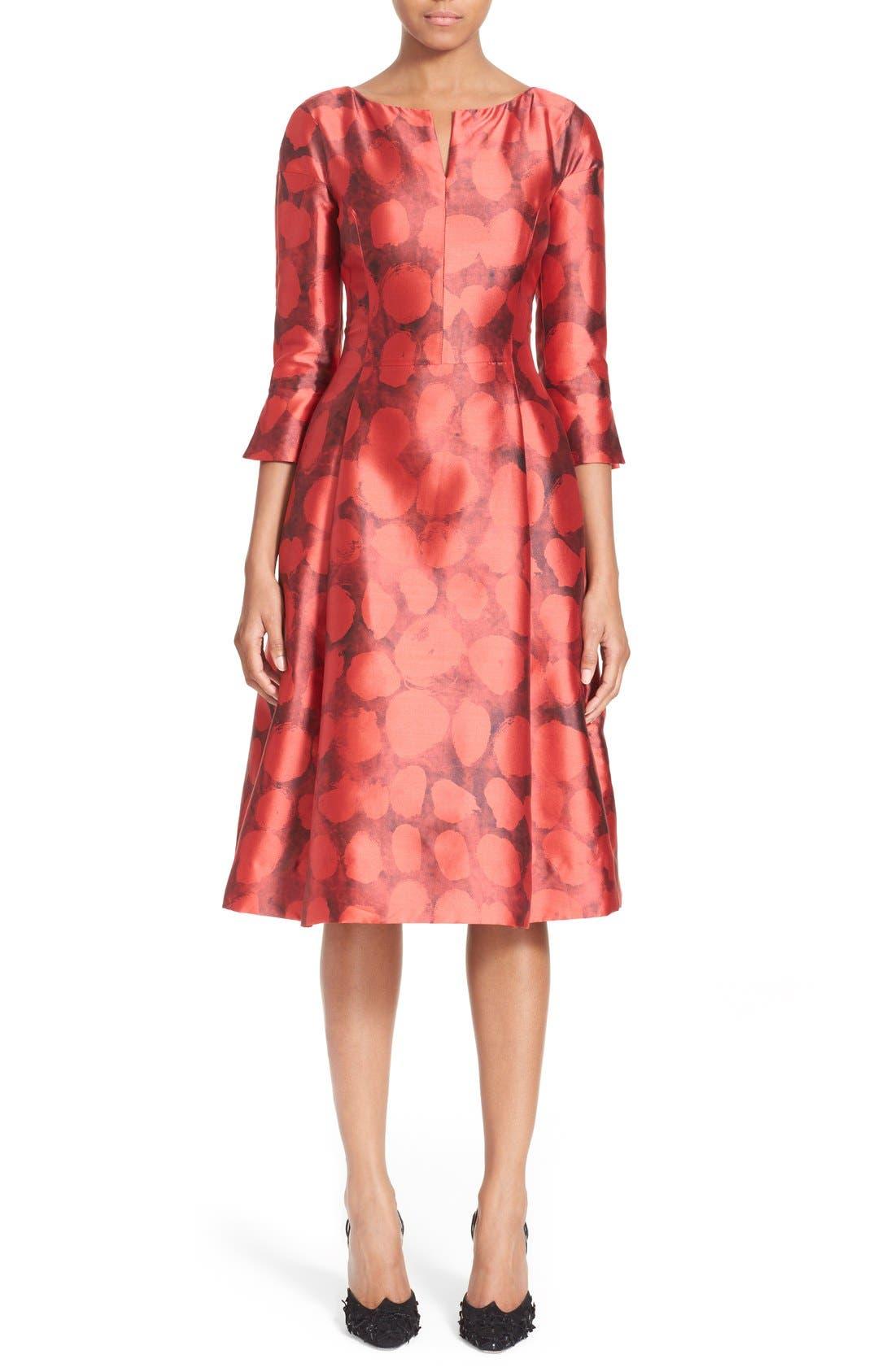 Alternate Image 1 Selected - Oscar de la Renta Dot Print Silk & Cotton Dress