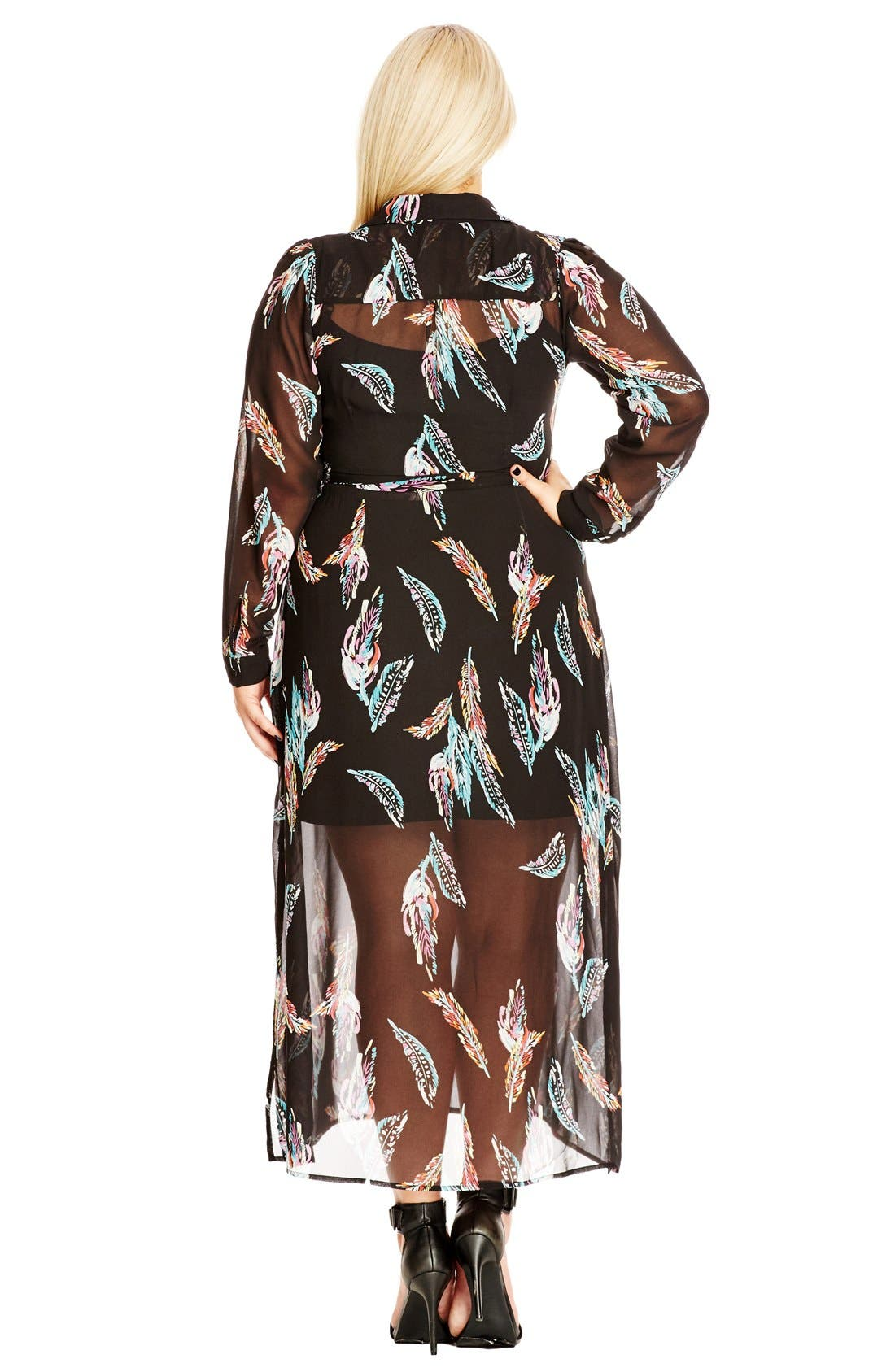 Alternate Image 2  - City Chic 'Longline Lady' Maxi Shirtdress (Plus Size)