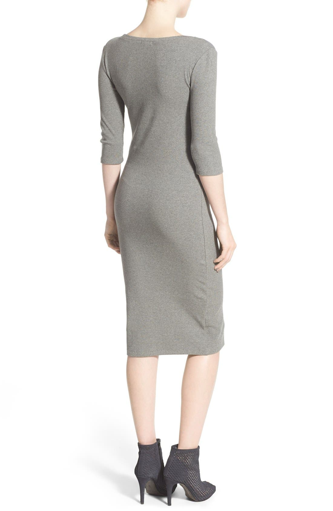 Scoop Neck T-Shirt Dress,                             Alternate thumbnail 2, color,                             Grey Cloudy Heather