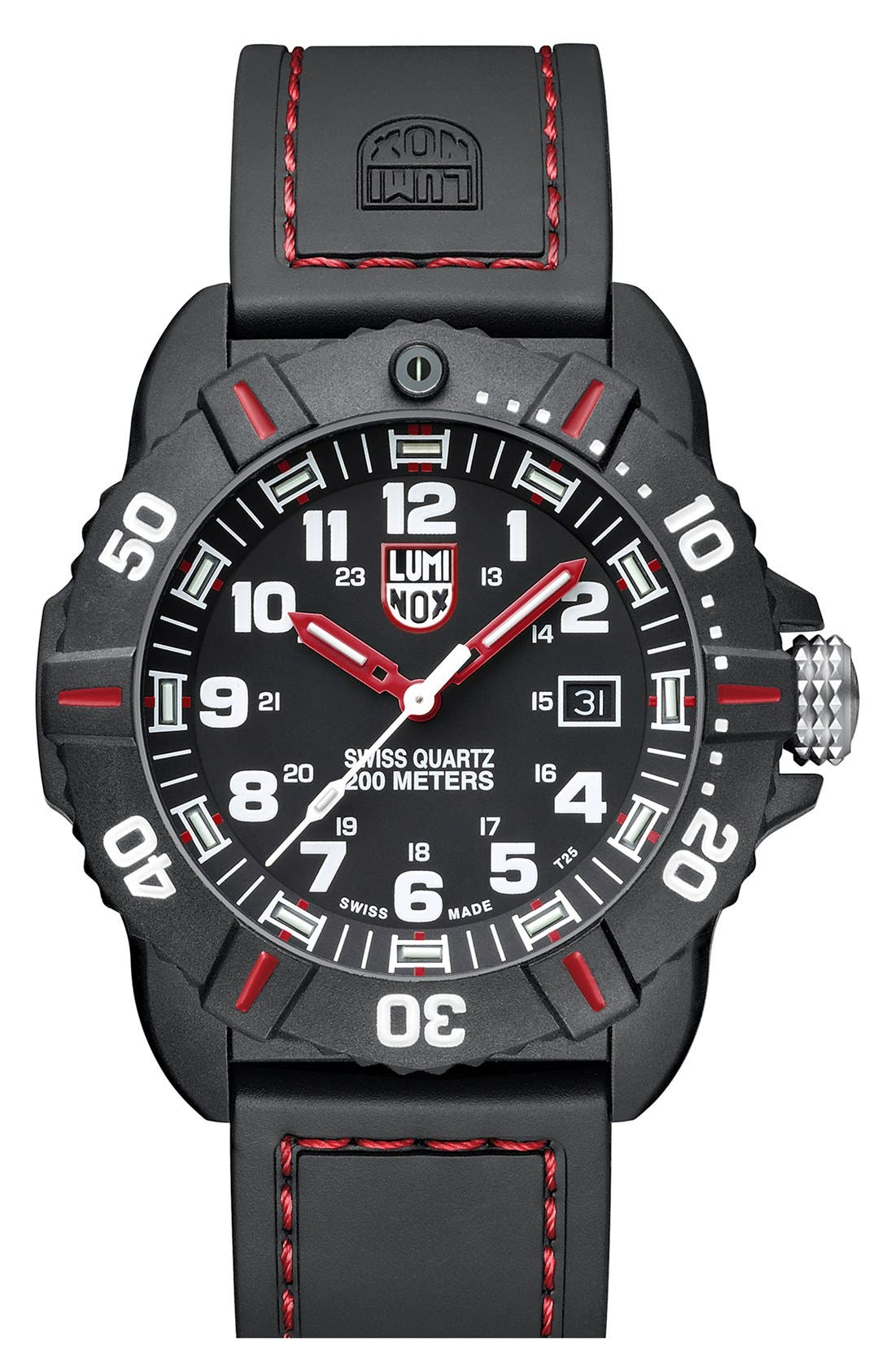 'Coronado' Rubber Strap Watch, 44mm,                             Main thumbnail 1, color,                             Black/ Red