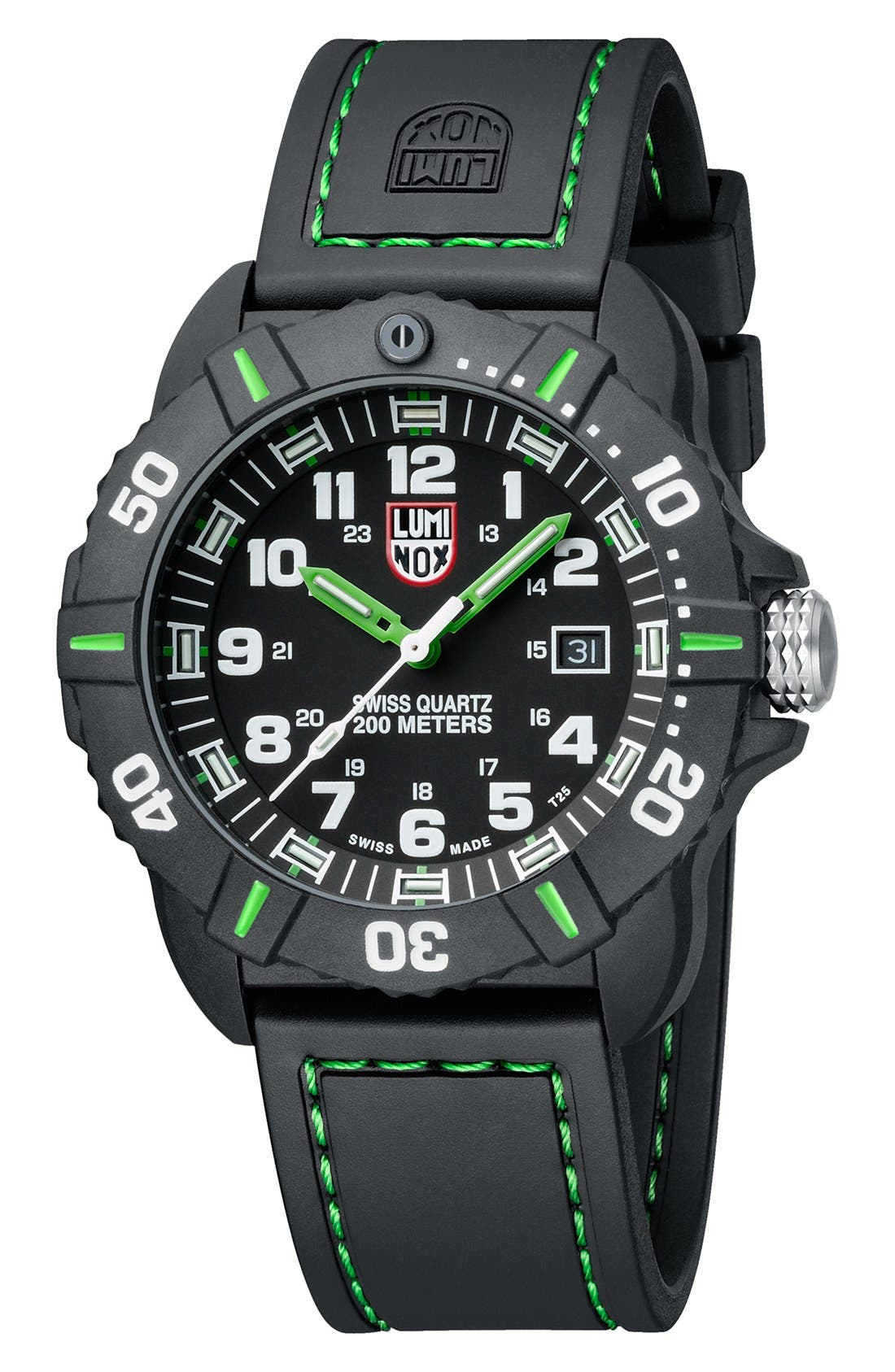 'Coronado' Rubber Strap Watch, 44mm,                             Alternate thumbnail 2, color,                             Black/ Green