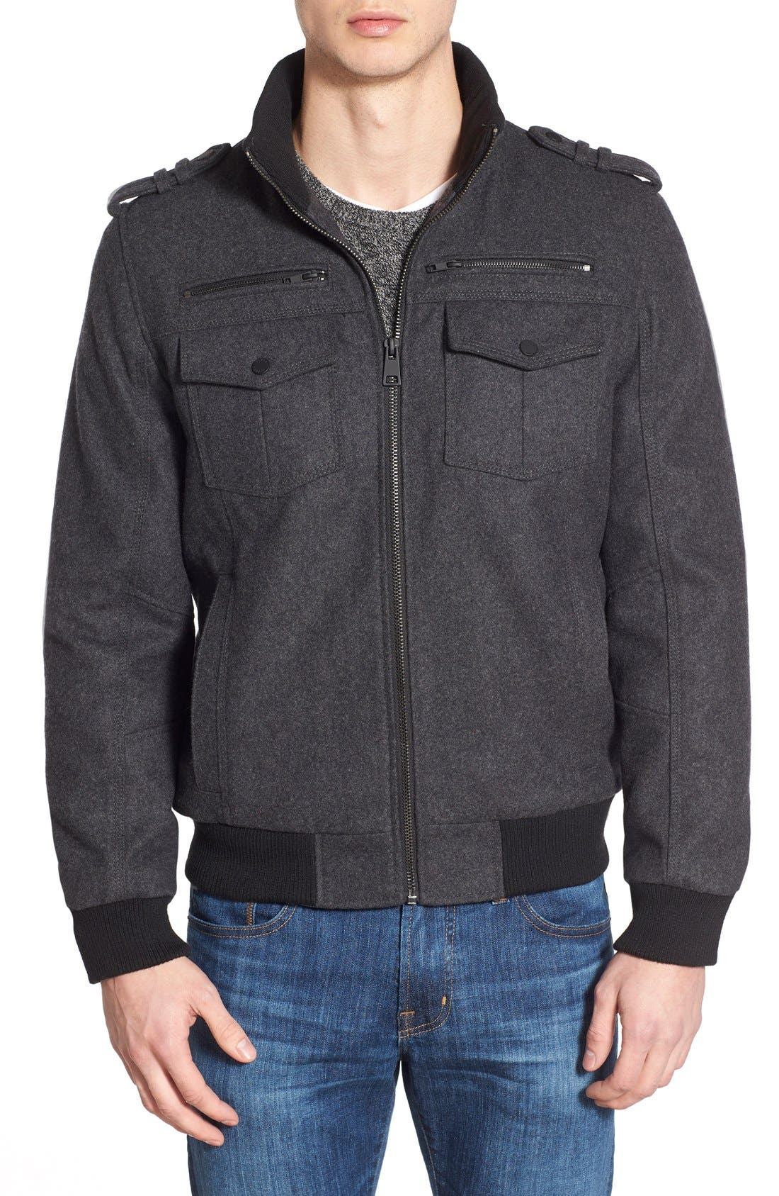 Wool Blend Bomber Jacket,                         Main,                         color, Charcoal
