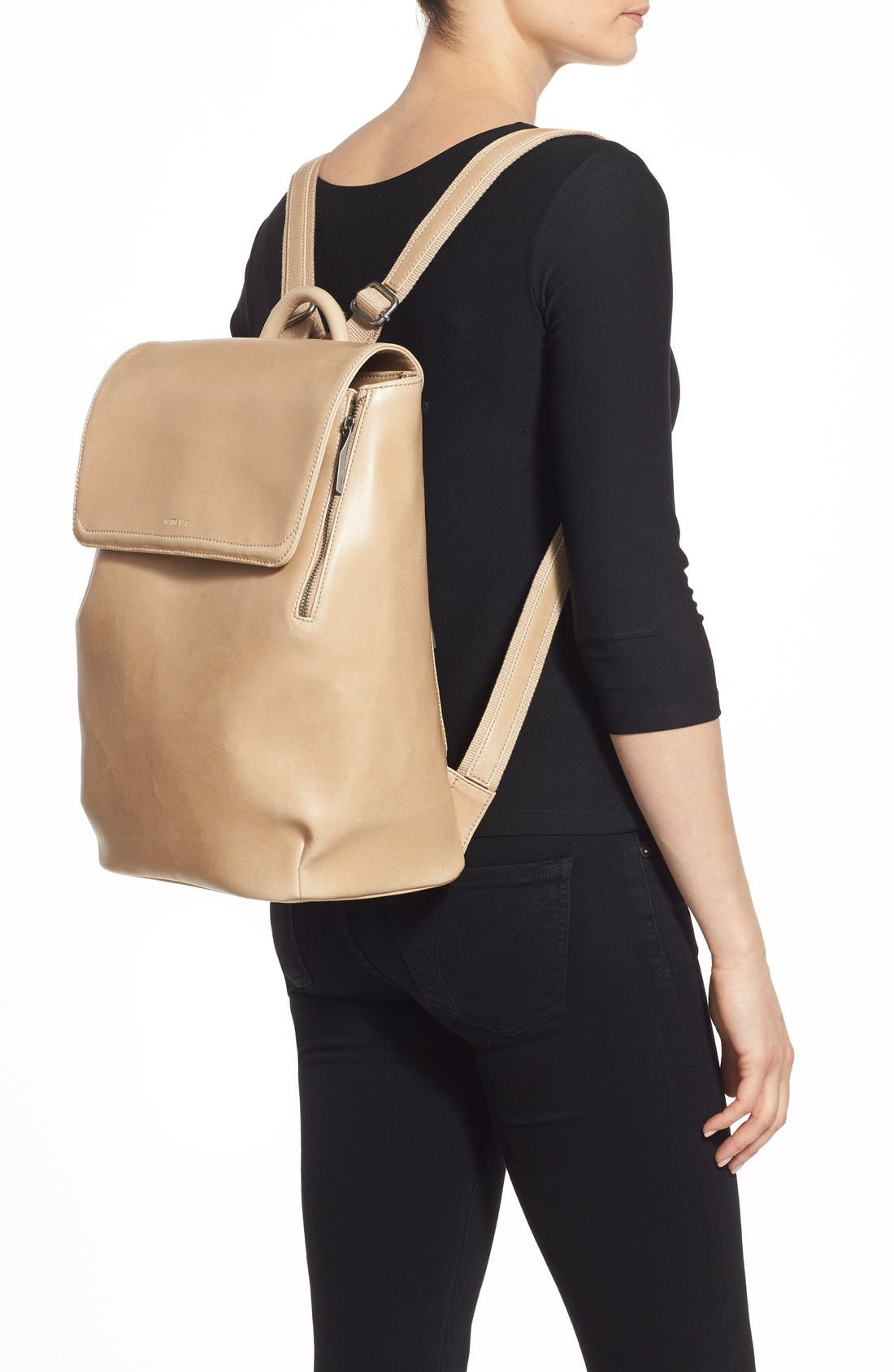 'Fabi' Faux Leather Laptop Backpack,                             Alternate thumbnail 2, color,                             Cardamom