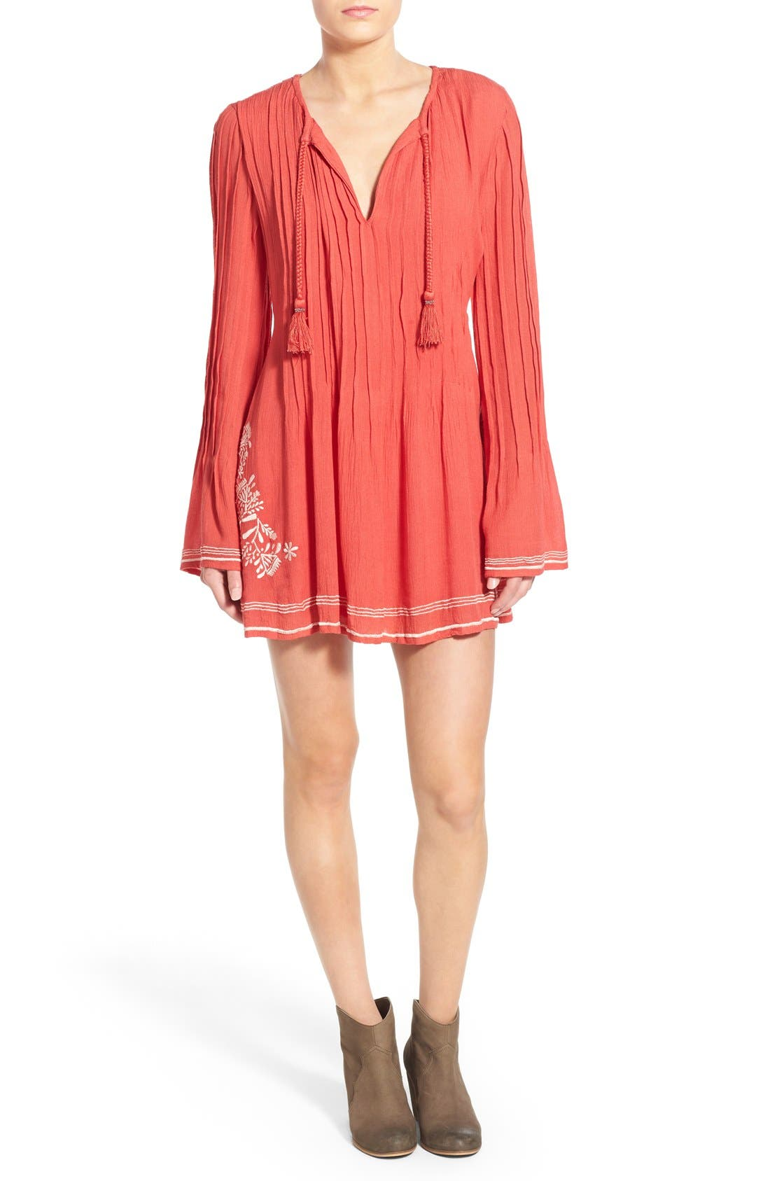 'Audrey' Embroidered Tunic Dress,                         Main,                         color, Watermelon