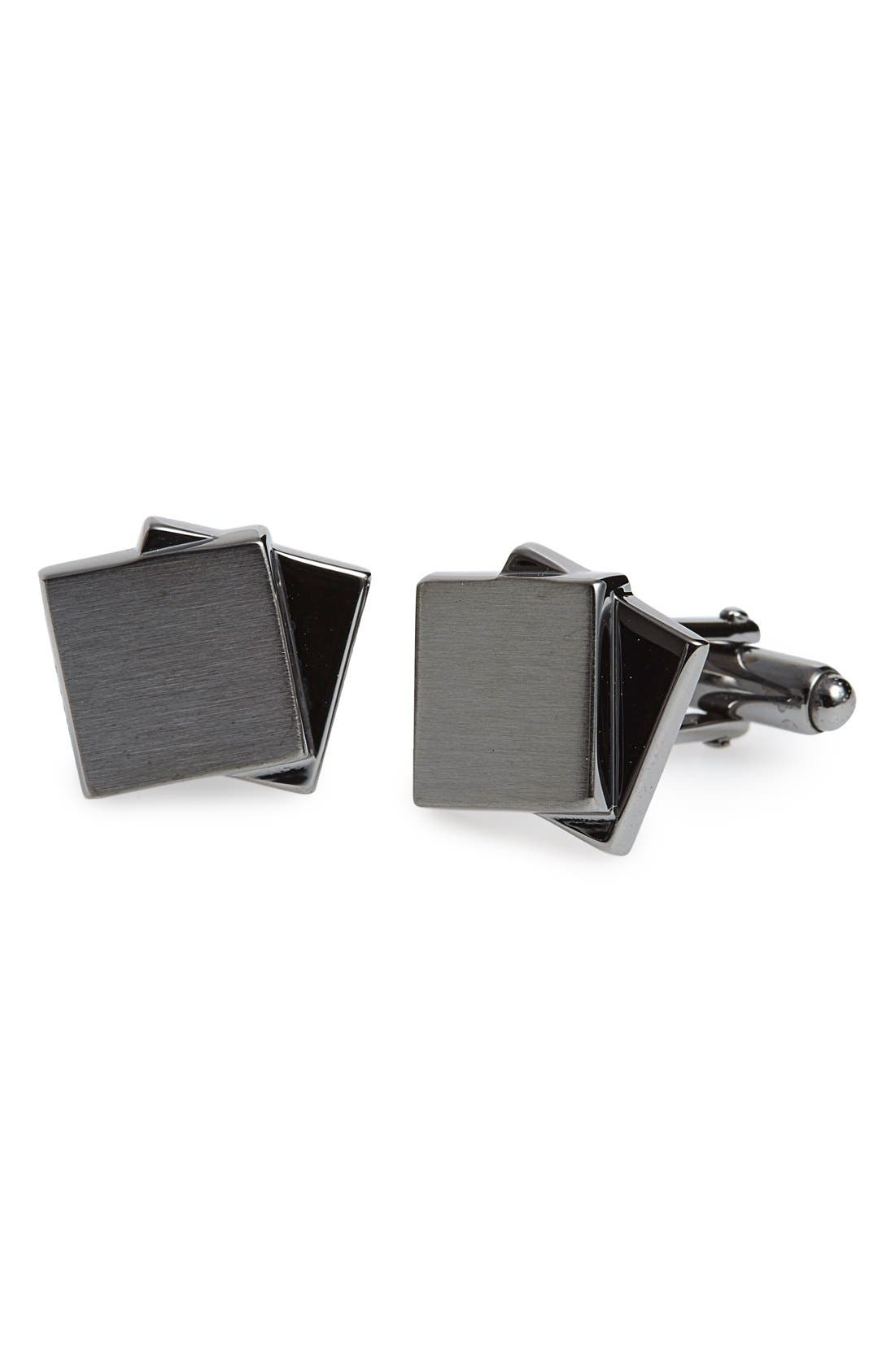 Dual Plaques Cuff Links,                         Main,                         color, Gunmetal