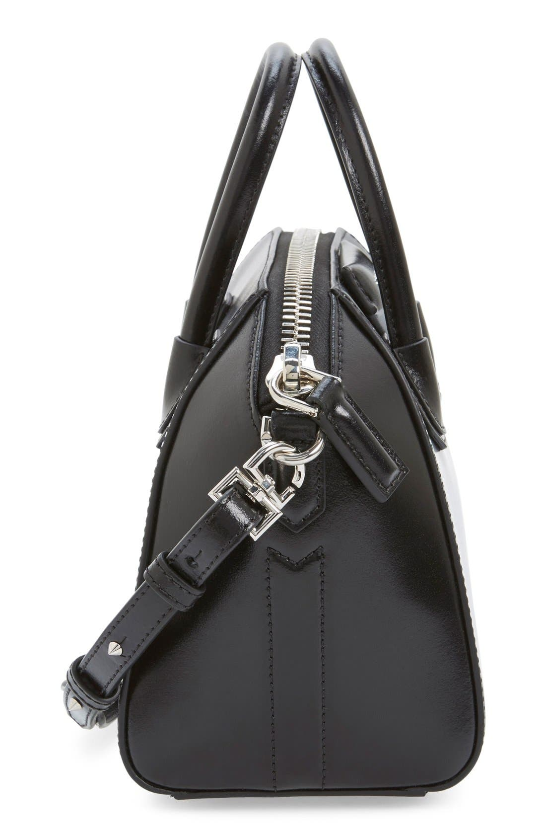 'Mini Antigona' Box Leather Satchel,                             Alternate thumbnail 5, color,                             Black