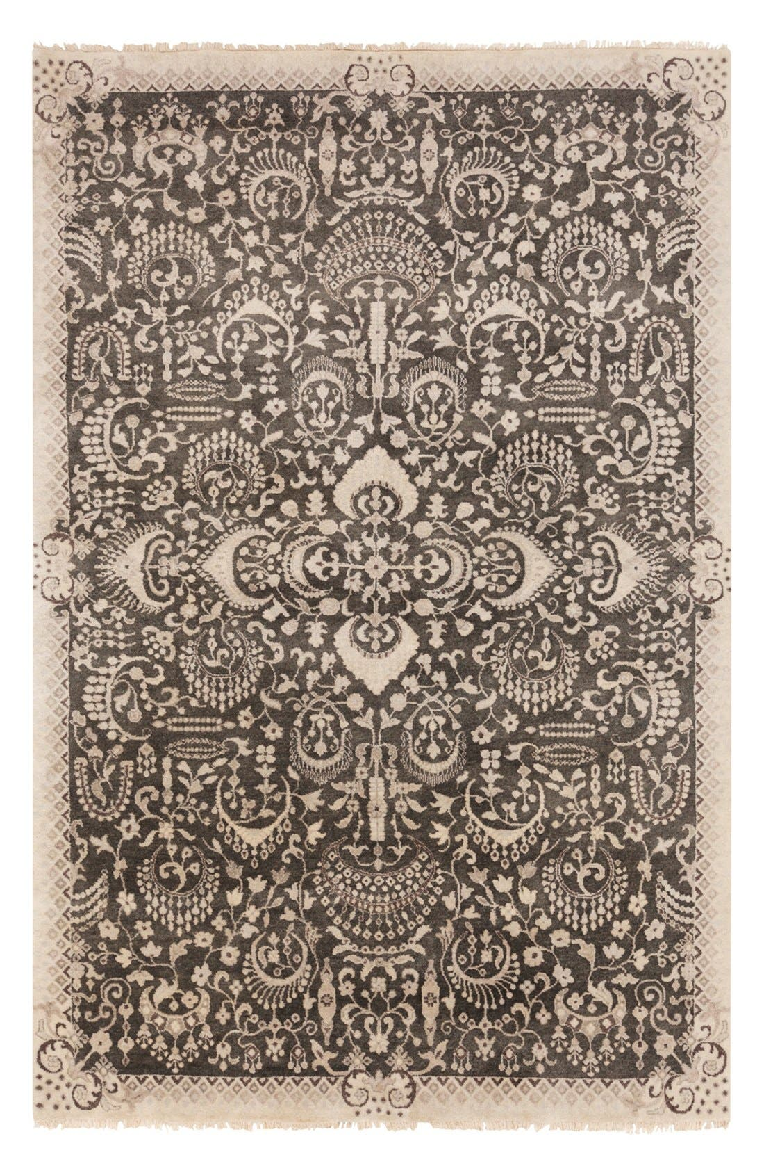 'Empress' Wool Rug,                             Main thumbnail 1, color,                             Ivory/ Black Multi