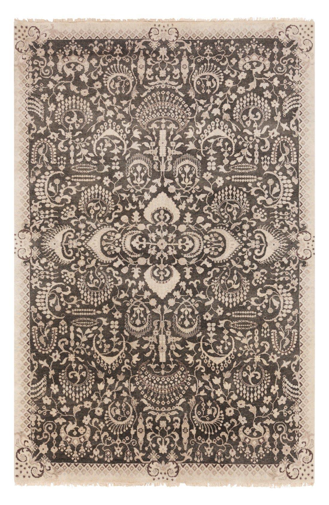 'Empress' Wool Rug,                         Main,                         color, Ivory/ Black Multi