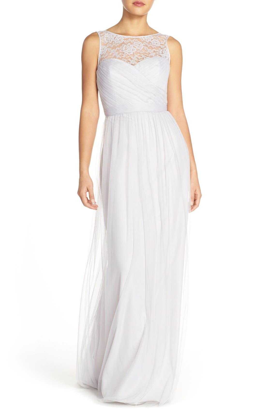 Main Image - Amsale 'Chandra' Illusion Yoke Lace & Tulle Gown
