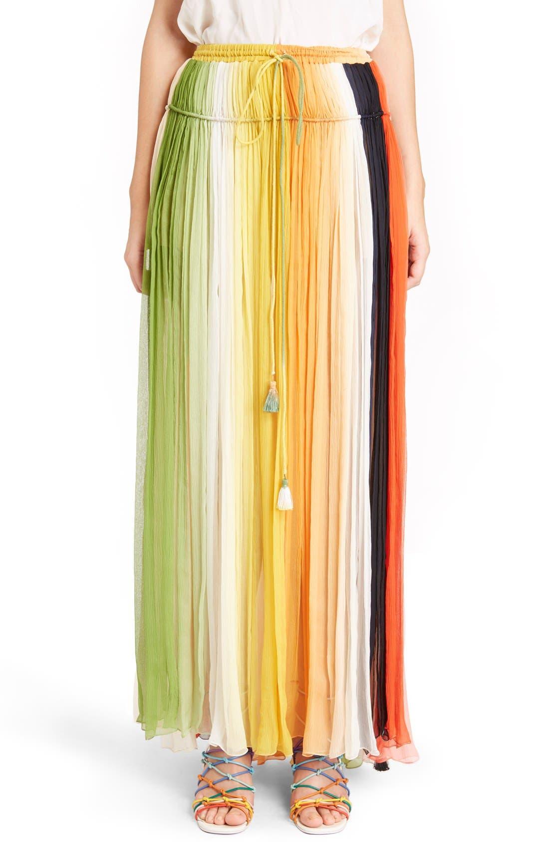 Stripe Pleated Silk Skirt with Tassels,                         Main,                         color, Orange/ Green