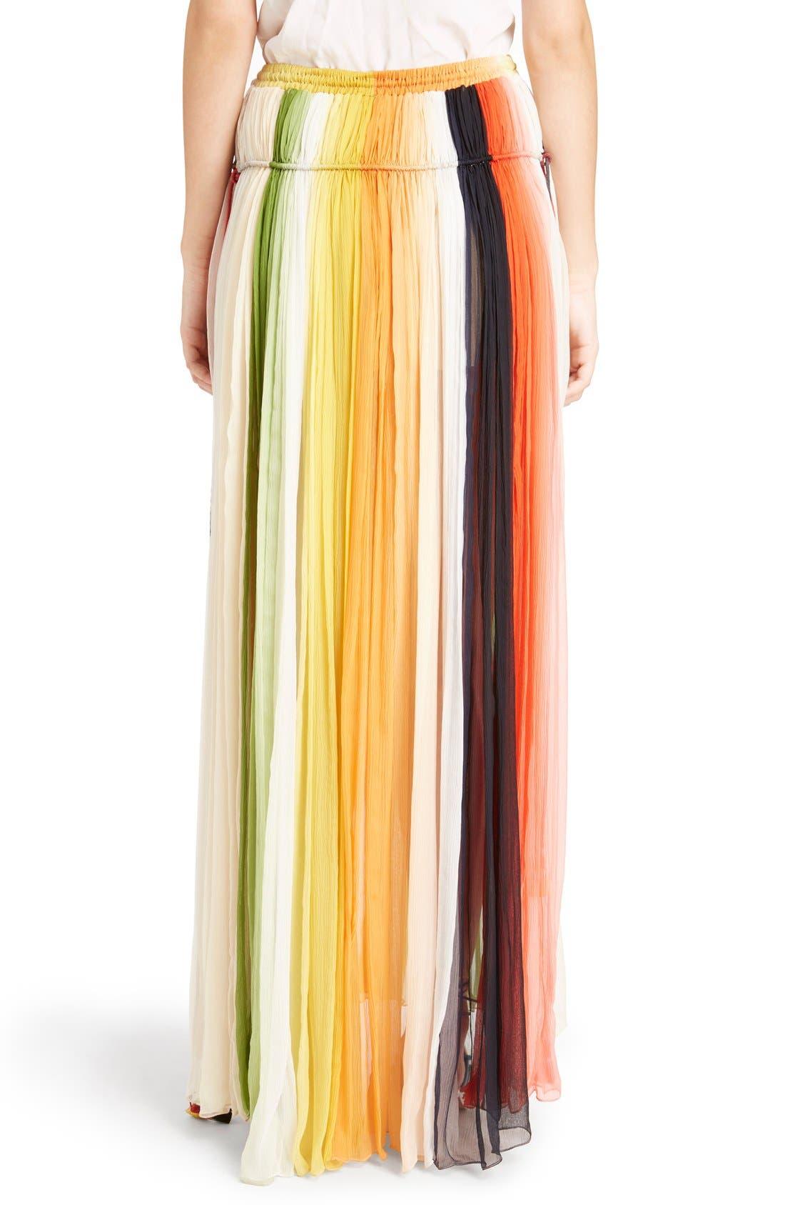 Stripe Pleated Silk Skirt with Tassels,                             Alternate thumbnail 3, color,                             Orange/ Green