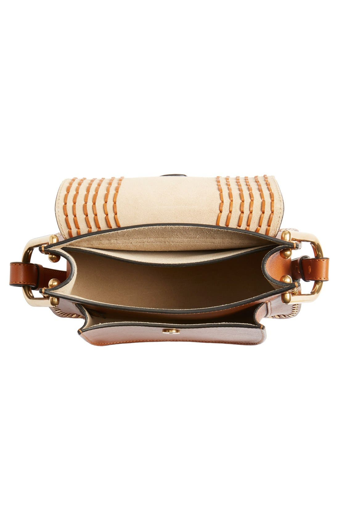 'Small Hudson' Studded Calfskin Leather Crossbody Bag,                             Alternate thumbnail 4, color,                             Caramel