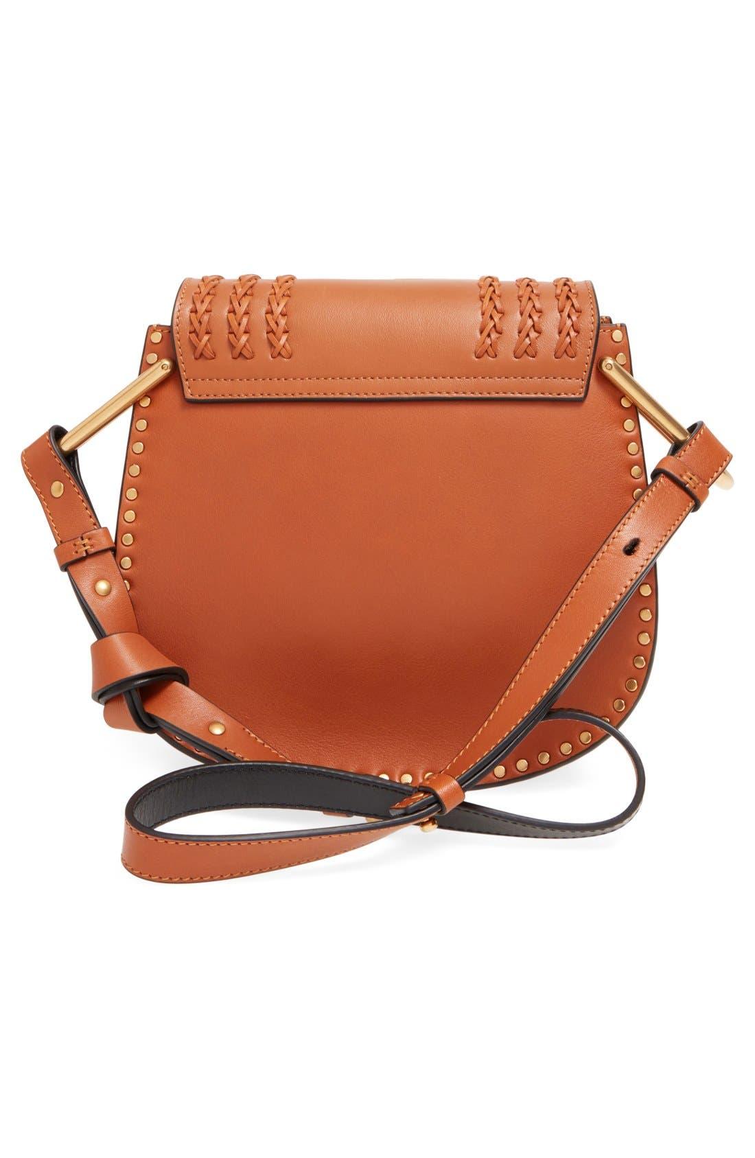 'Small Hudson' Studded Calfskin Leather Crossbody Bag,                             Alternate thumbnail 7, color,                             Caramel