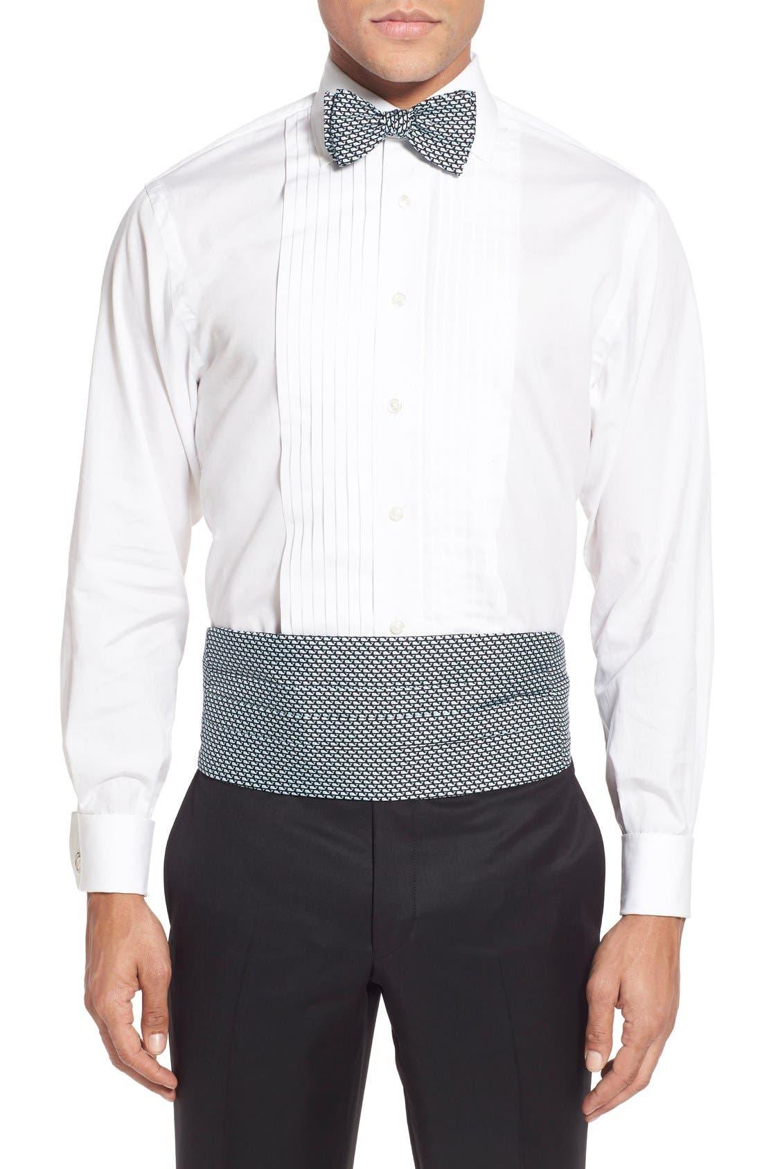 Whale Print Cummerbund & Self-Tie Bow Tie,                         Main,                         color, Black