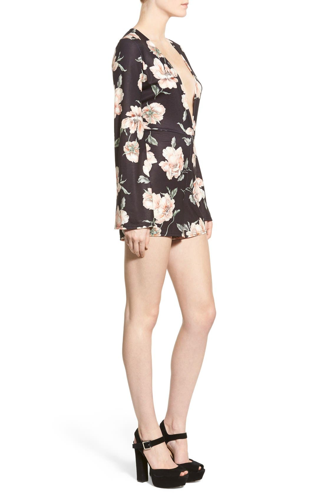 Alternate Image 3  - Missguided Floral Print Plunge Romper