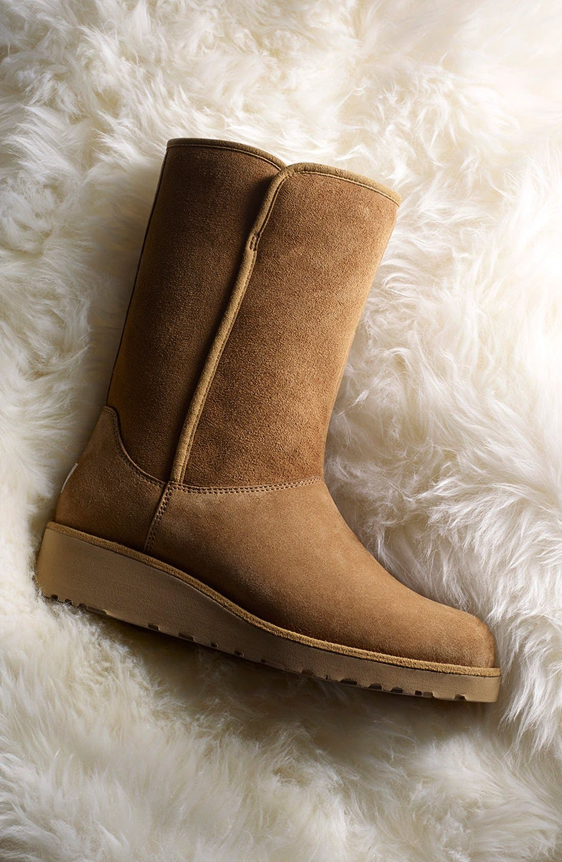 Amie - Classic Slim<sup>™</sup> Water Resistant Short Boot,                             Alternate thumbnail 5, color,                             Chestnut Suede