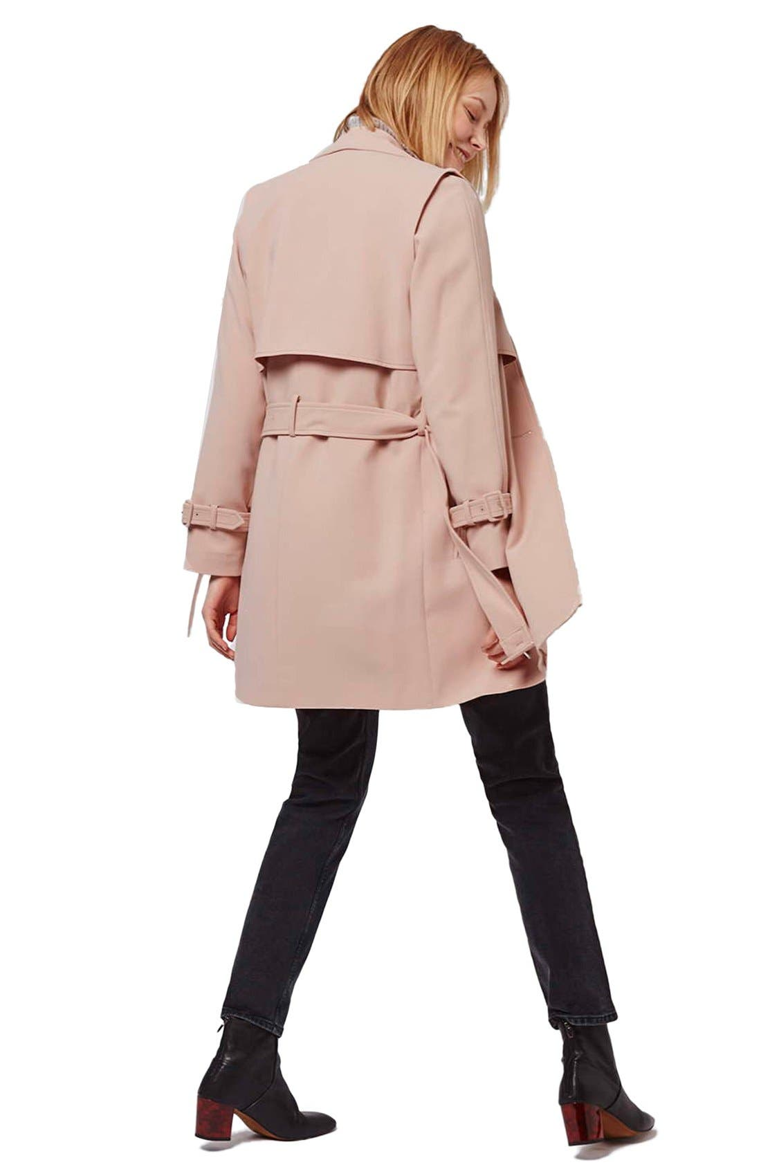 Tailored Double Breasted Coat,                             Alternate thumbnail 3, color,                             Light Pink