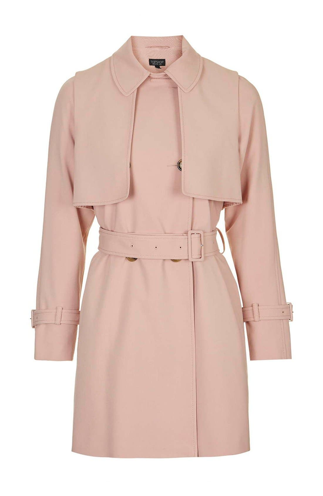 Tailored Double Breasted Coat,                             Alternate thumbnail 6, color,                             Light Pink