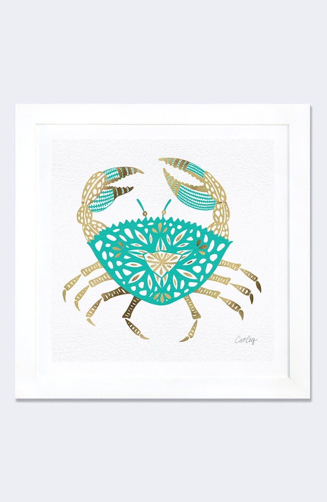 Alternate Image 1 Selected - iCanvas 'Gold Crab' Framed Fine Art Print