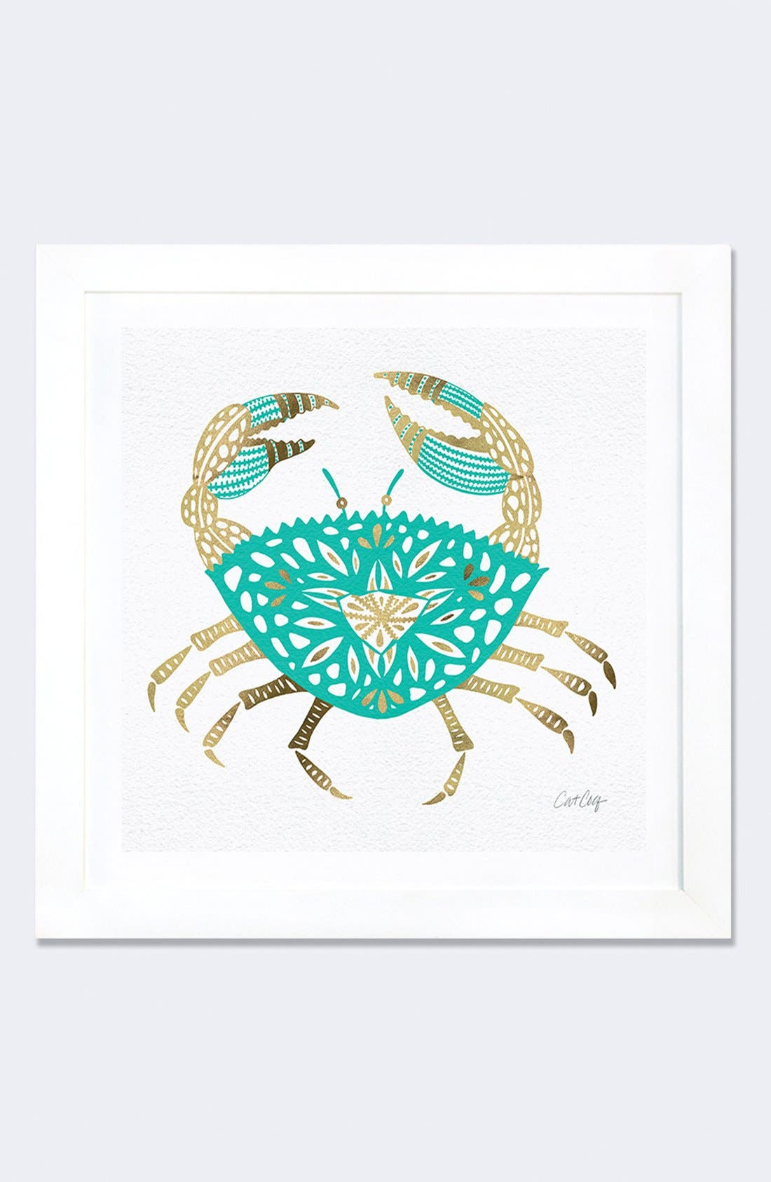 'Gold Crab' Framed Fine Art Print,                         Main,                         color, Green