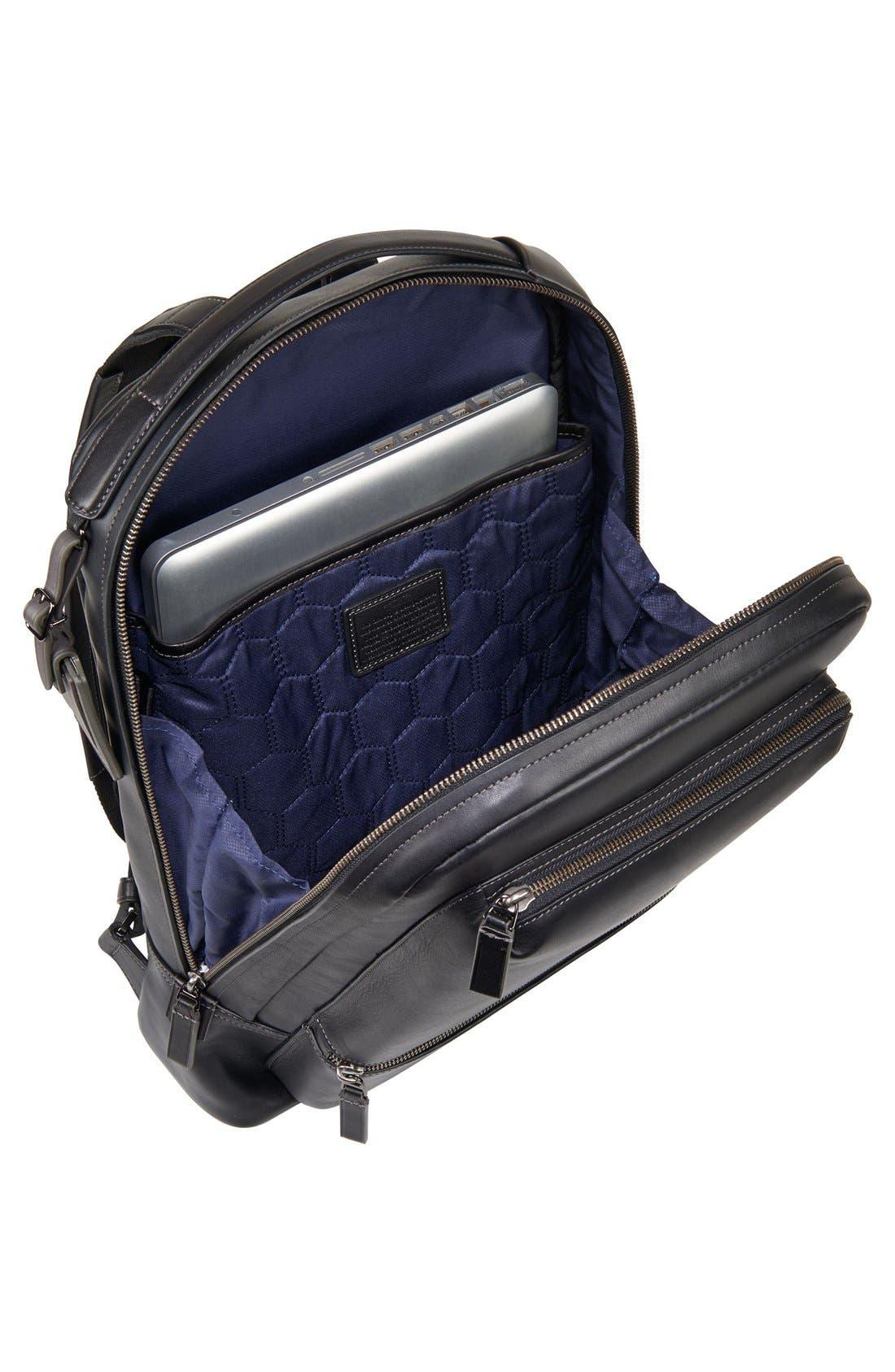 'Harrison - Bates' Leather Backpack,                             Alternate thumbnail 4, color,                             Black