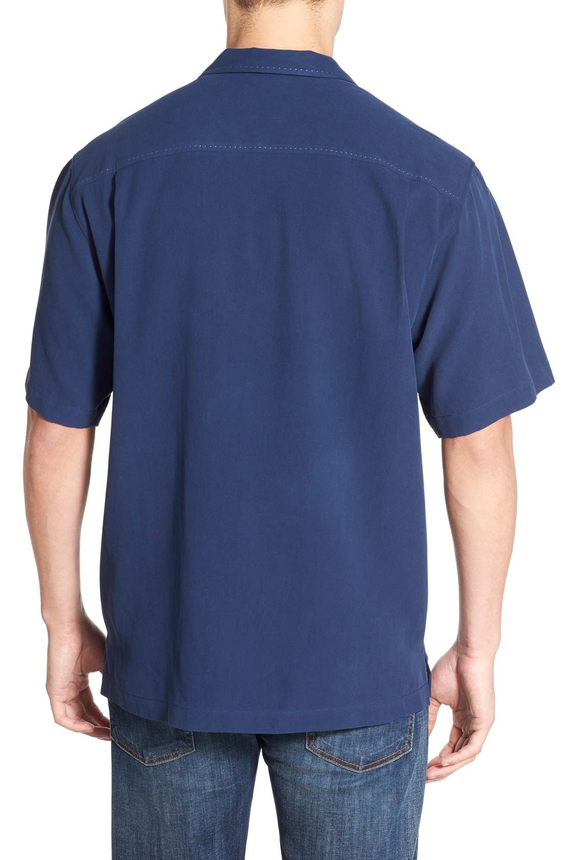 'Catalina Twill' Original Fit Silk Camp Shirt,                             Alternate thumbnail 2, color,                             Navy