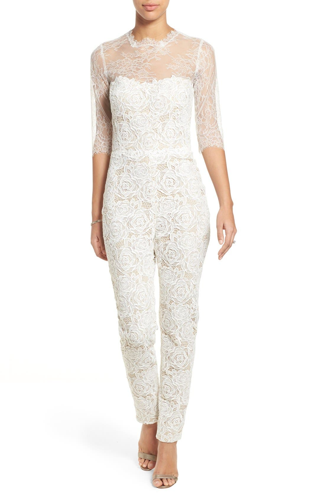 Monique Lhuillier Ready to Wed Guipure Lace Jumpsuit,                             Main thumbnail 1, color,                             Silk White/ Nude