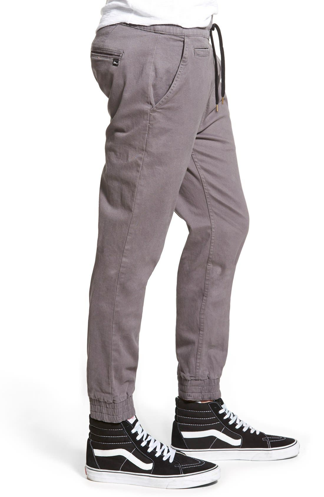 'Denny' Woven Jogger Pants,                             Alternate thumbnail 3, color,                             Charcoal