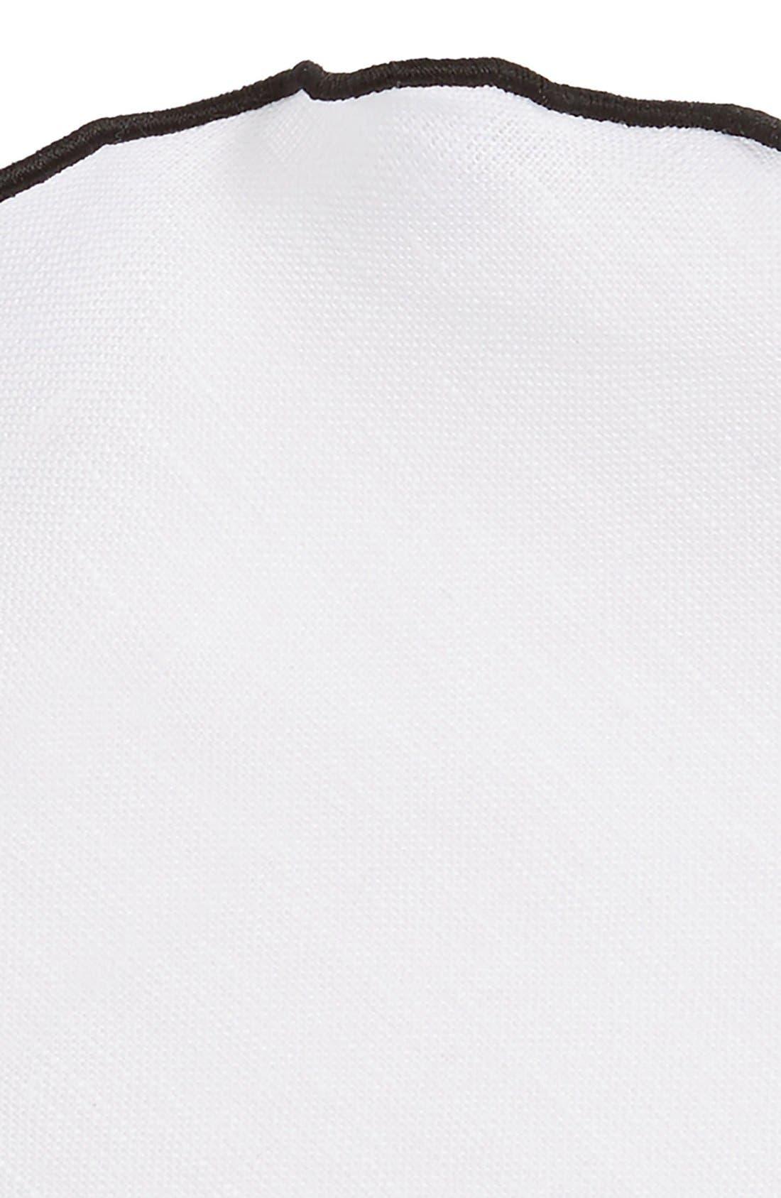 Linen Pocket Round,                             Alternate thumbnail 3, color,                             White/ Black Trim
