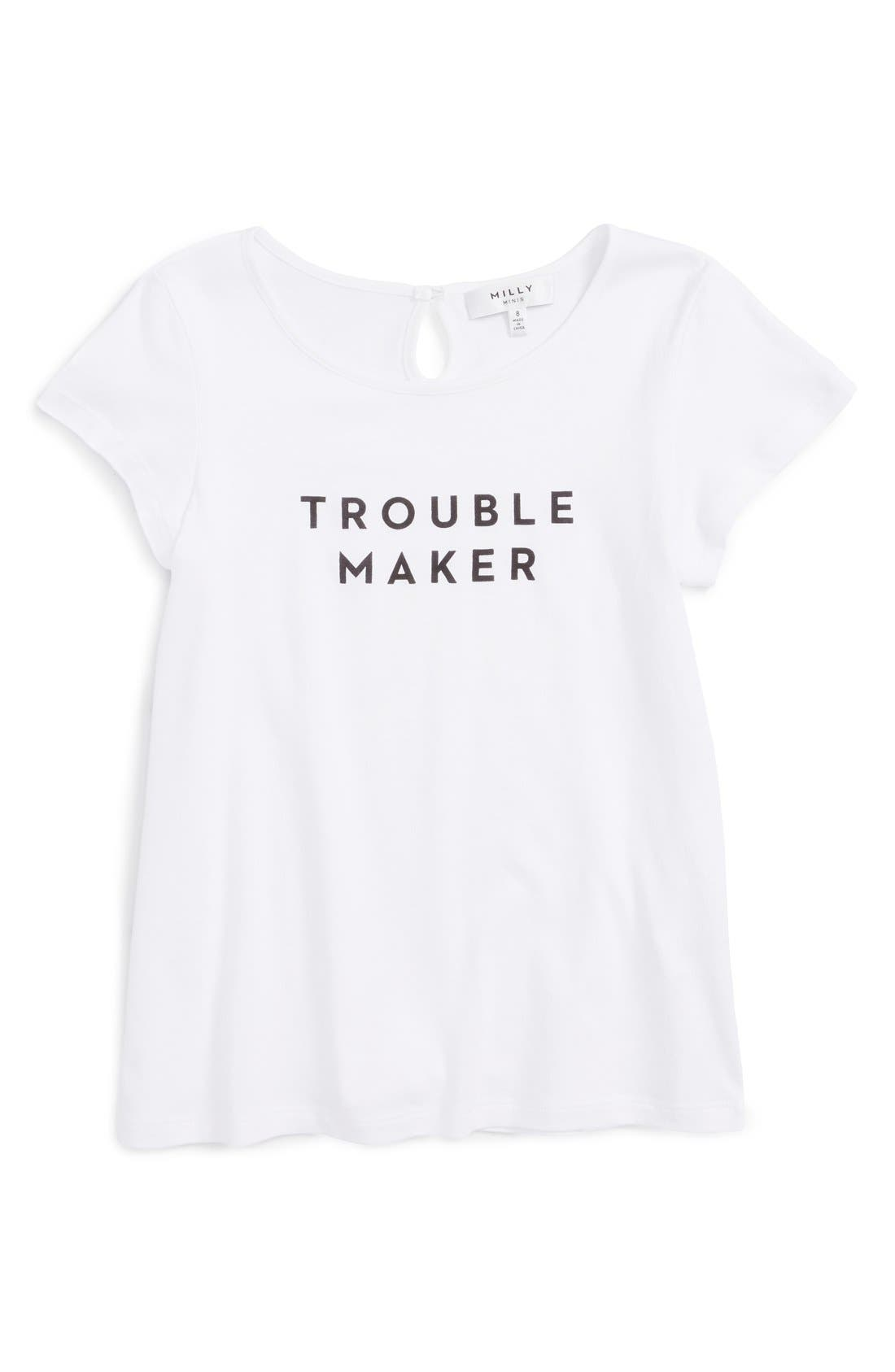 'Trouble Maker' Graphic Tee,                             Main thumbnail 1, color,                             White