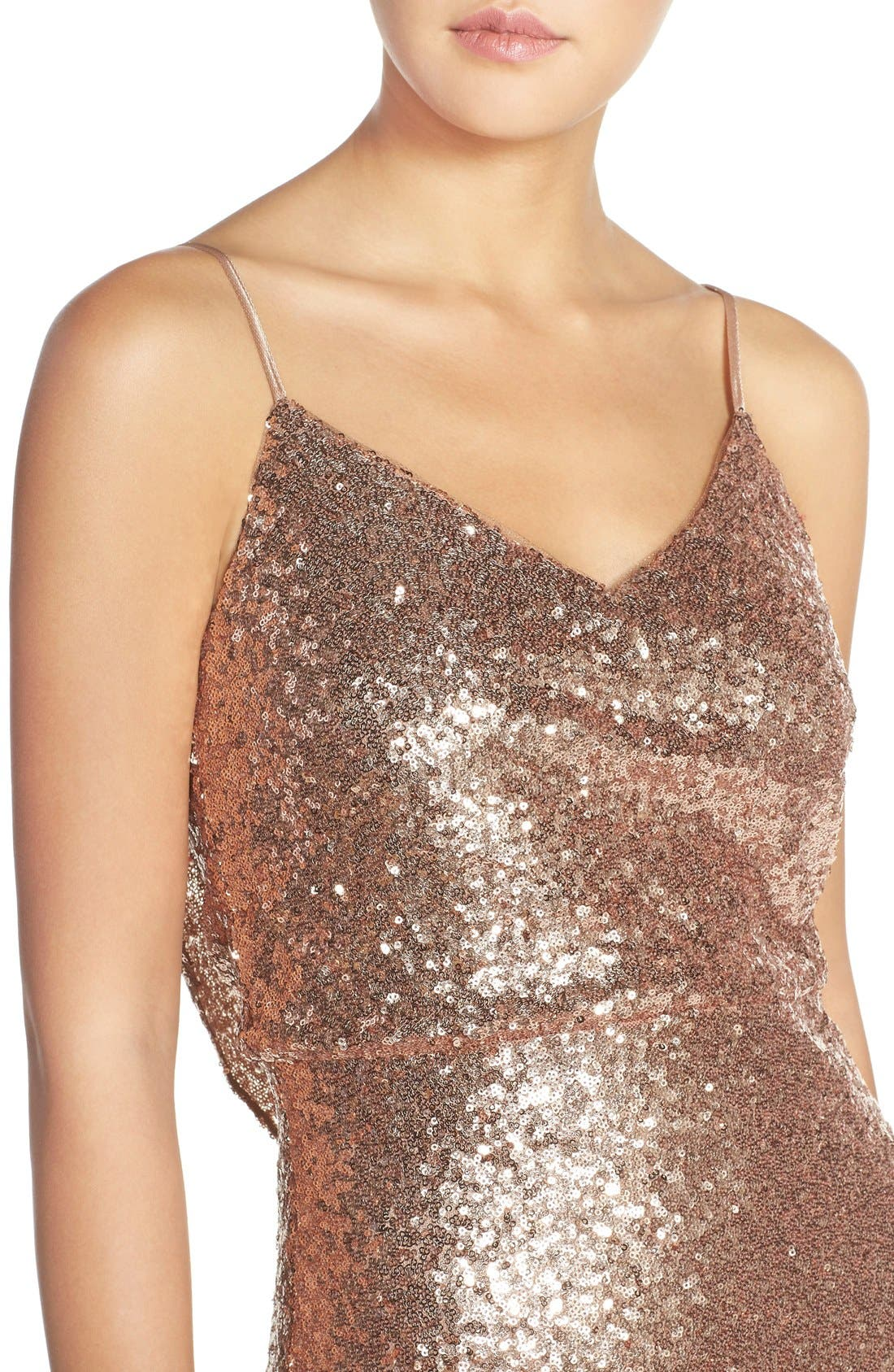 Jules Sequin Blouson Gown with Detachable Back Cowl,                             Alternate thumbnail 4, color,                             Rose Gold