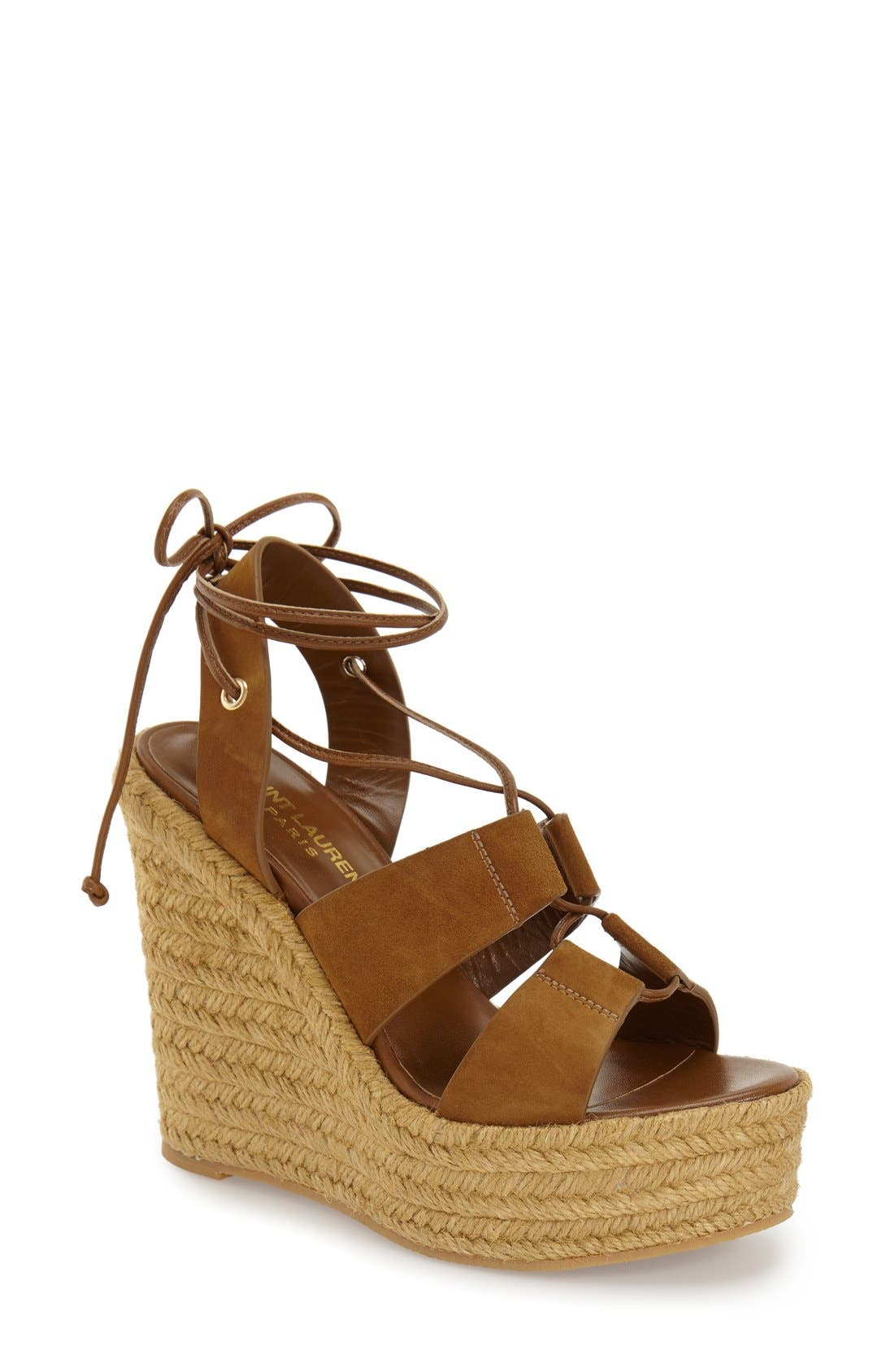 Woven Espadrille Wedge Sandal,                         Main,                         color, Tan Suede
