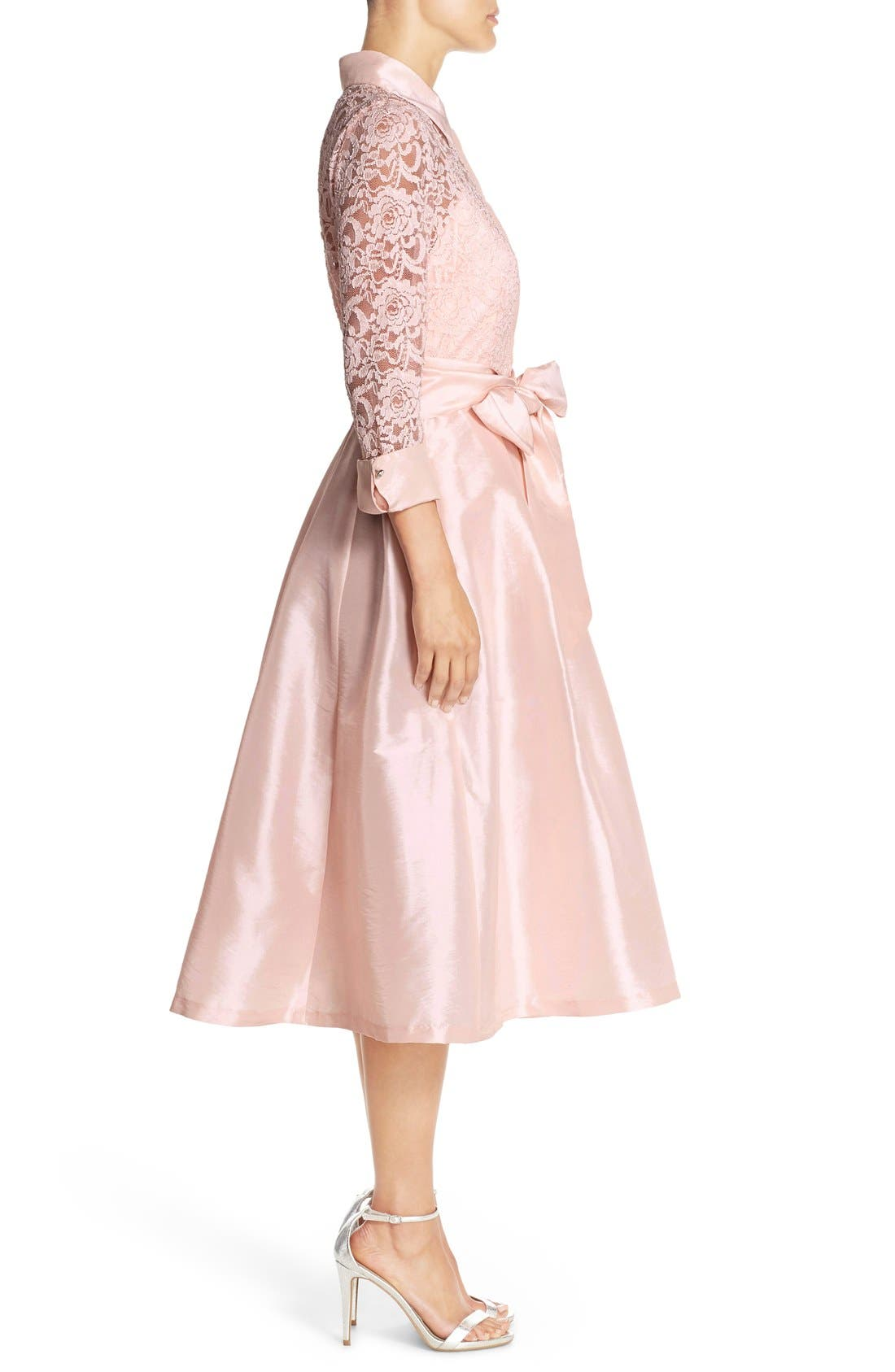Belted Lace & Taffeta Point Collar Midi Dress,                             Alternate thumbnail 3, color,                             Blush