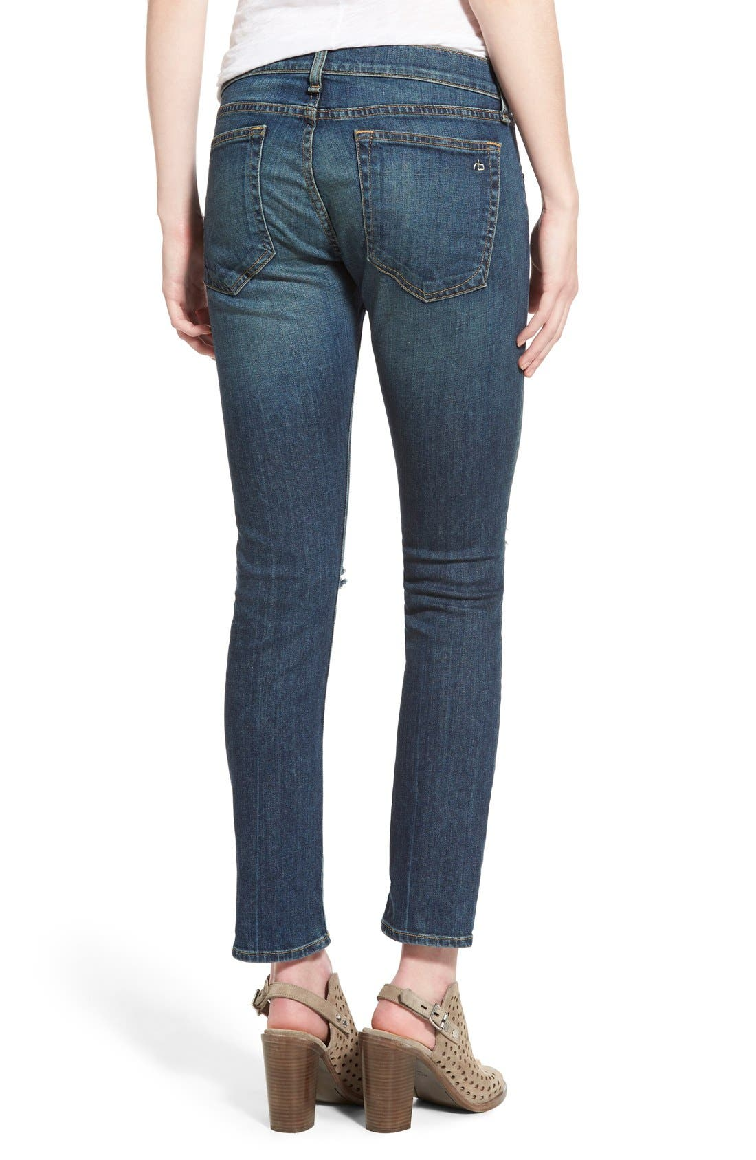 Alternate Image 2  - rag & bone/JEAN 'Tomboy' Boyfriend Skinny Jeans (Burnley)