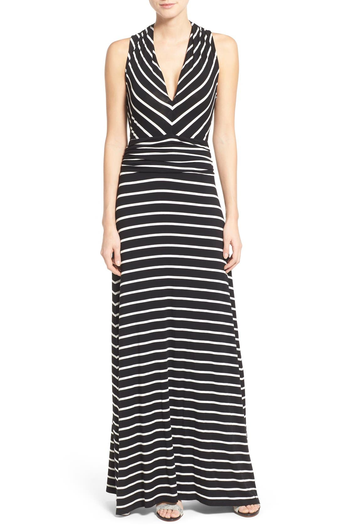 VINCE CAMUTO Stripe V-Neck A-Line Maxi Dress