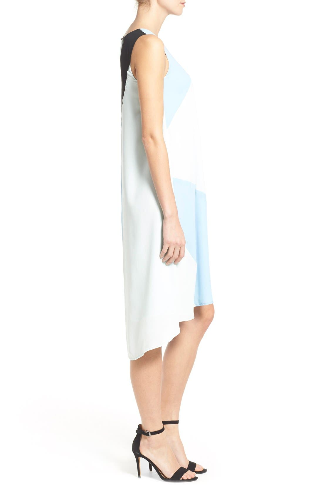 Alternate Image 4  - Vince Camuto Colorblock High/Low Hem Shift Dress (Regular & Petite)