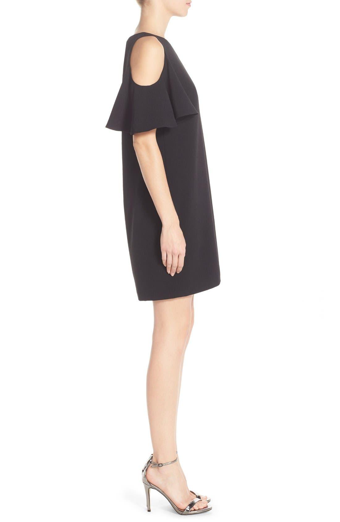 'Peek-A-Boo' Cold Shoulder Shift Dress,                             Alternate thumbnail 3, color,                             Black