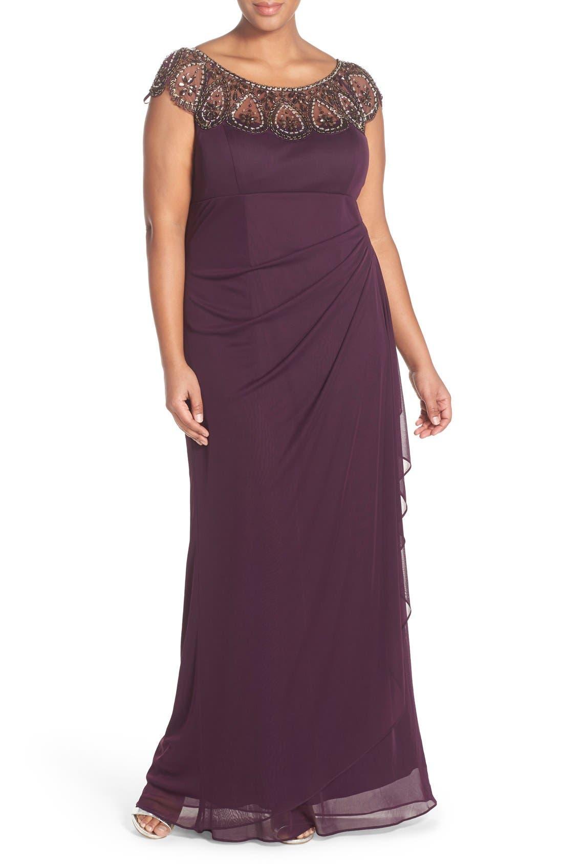 Main Image - Xscape Beaded Neck Empire Gown (Plus Size)